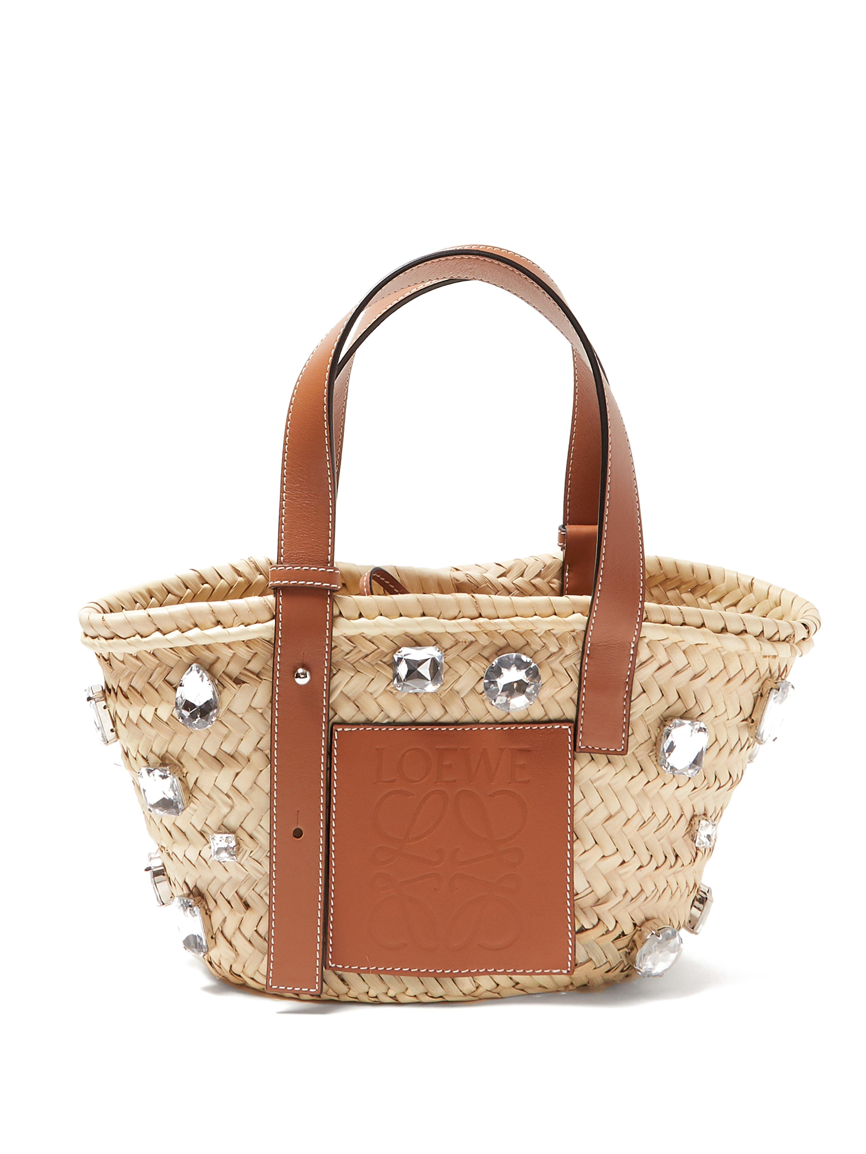 Loewe Small Crystal Embellished Woven Straw Bag in Brown - Lyst 5b8a53abda248