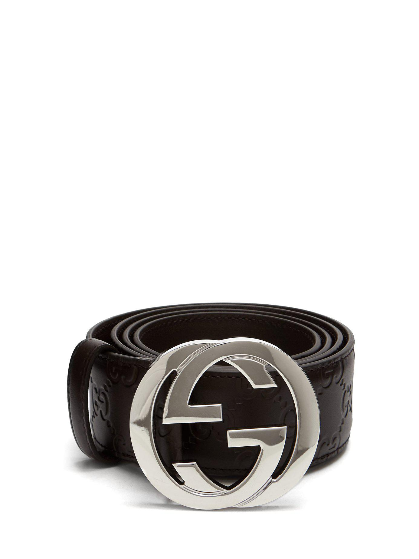 051d39b900344 Gucci Gg Textured Leather Belt in Brown for Men - Lyst
