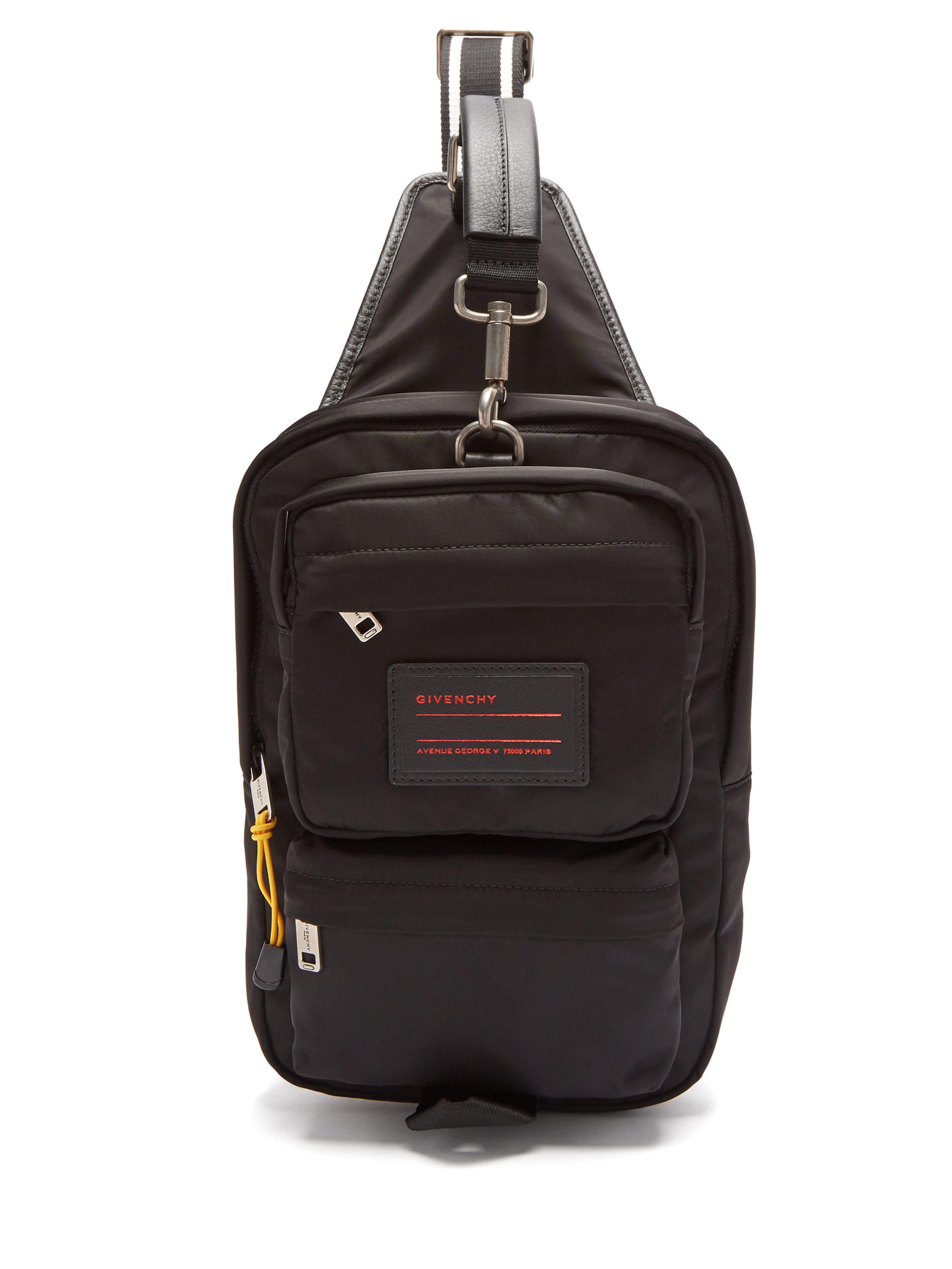 ... Leather Trimmed Nylon Single Strap Backpack for Men - Lyst. View  fullscreen 607462b9b72