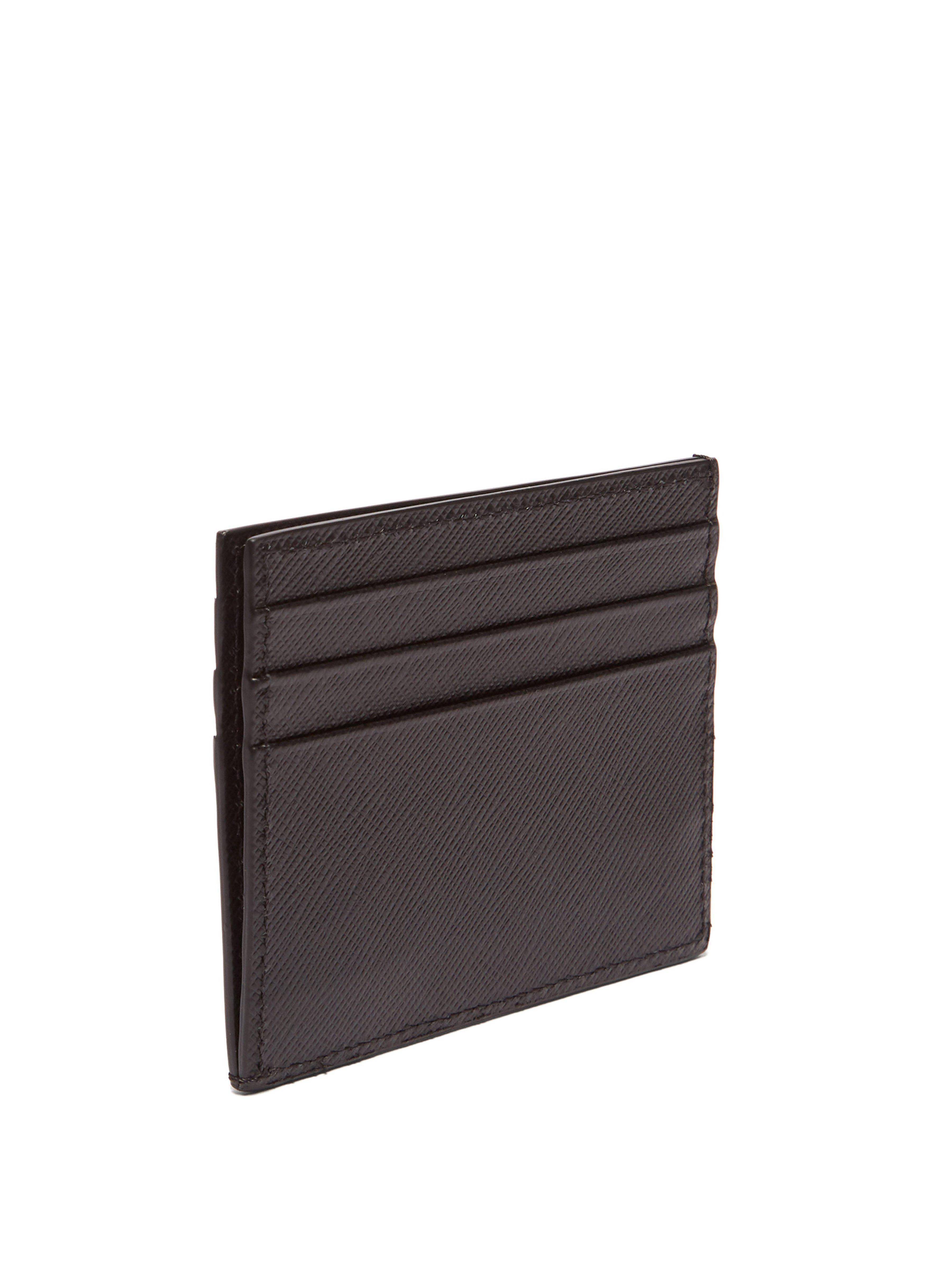 59fe96b046f Prada Saffiano Leather Metallic Embellished Cardholder in Black for Men -  Save 11% - Lyst