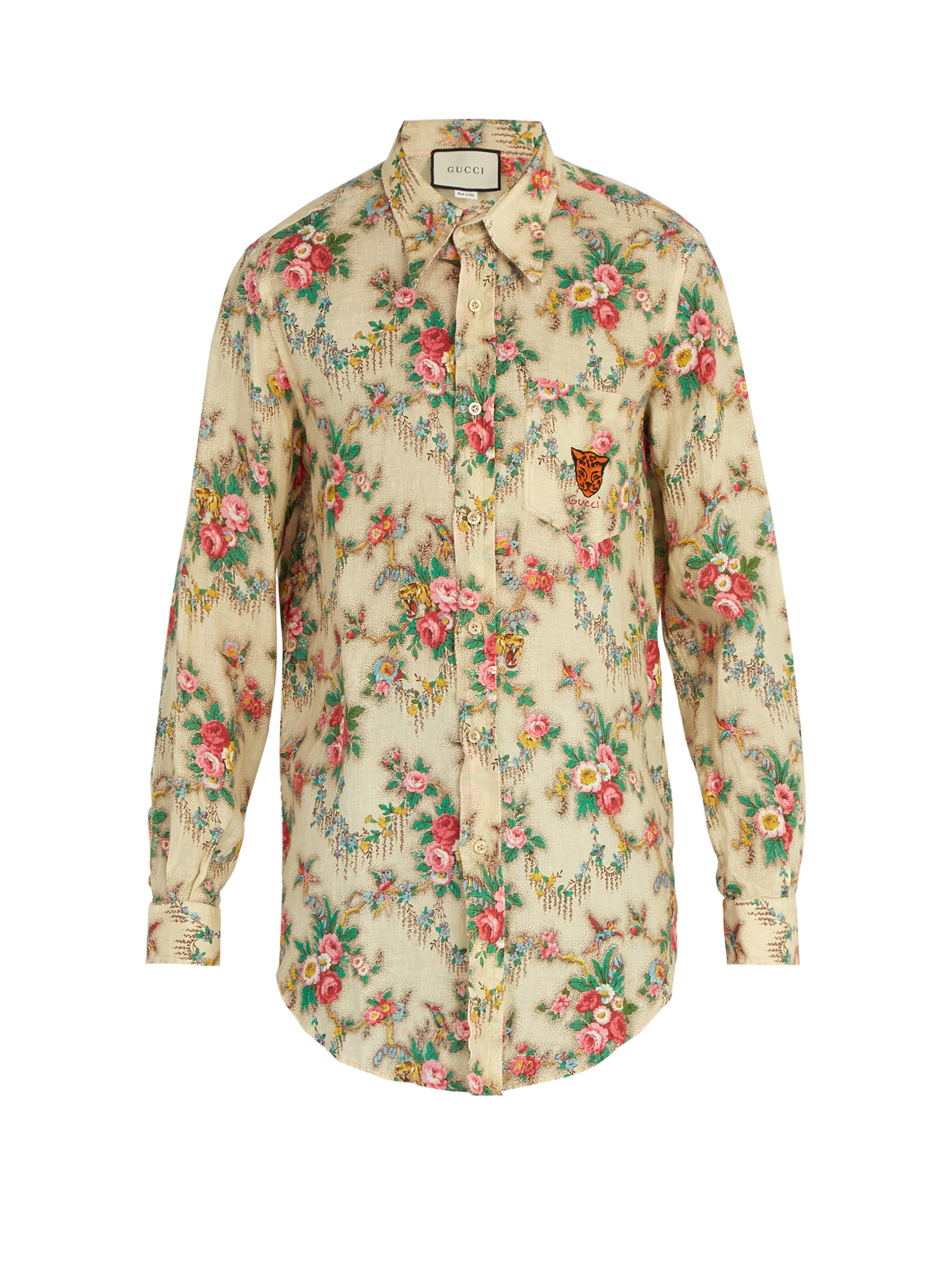 68b1cb1d502 Gucci - Multicolor Tiger Embroidered Floral Print Linen Shirt for Men - Lyst.  View fullscreen