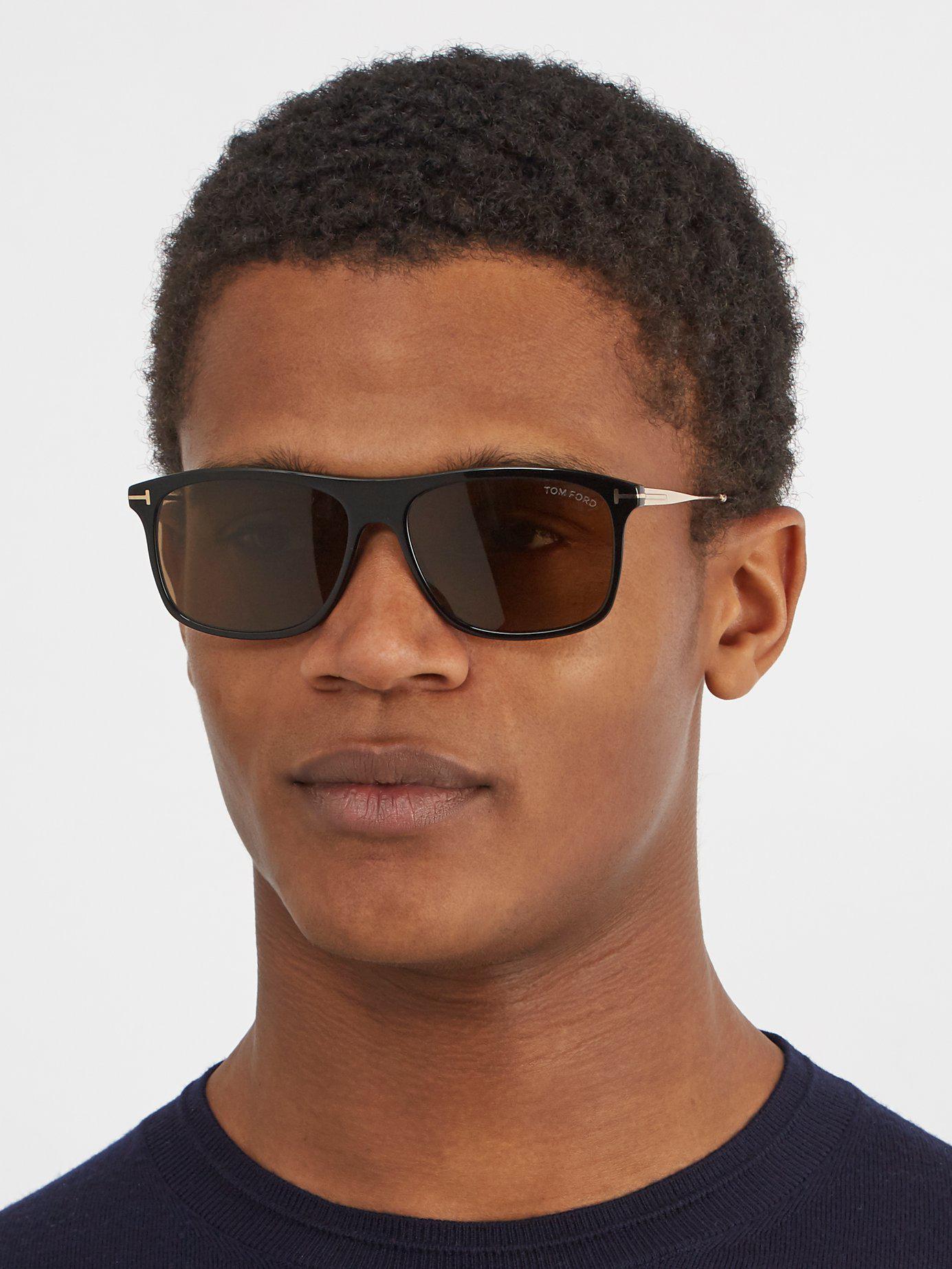 e7df4a9010 Tom Ford - Black Eric Rectangle Frame Sunglasses for Men - Lyst. View  fullscreen