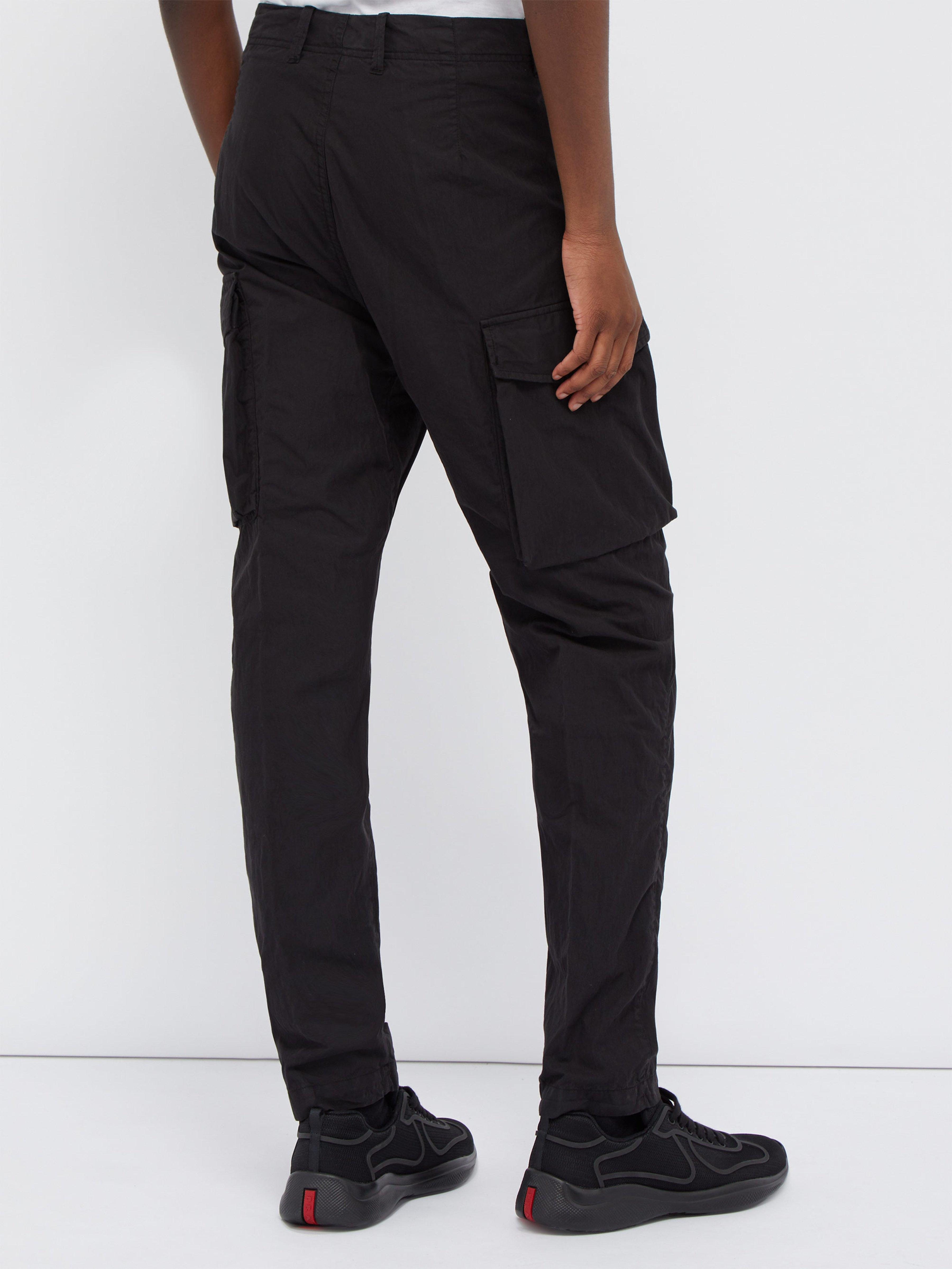 Stone Island Ghost Cotton Blend Cargo Trousers in Black ...