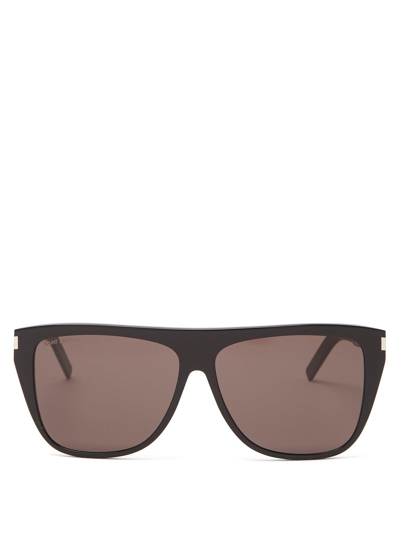 c35e25e6957dc Saint Laurent - Black Slim Flat Top D Frame Acetate Sunglasses - Lyst. View  fullscreen
