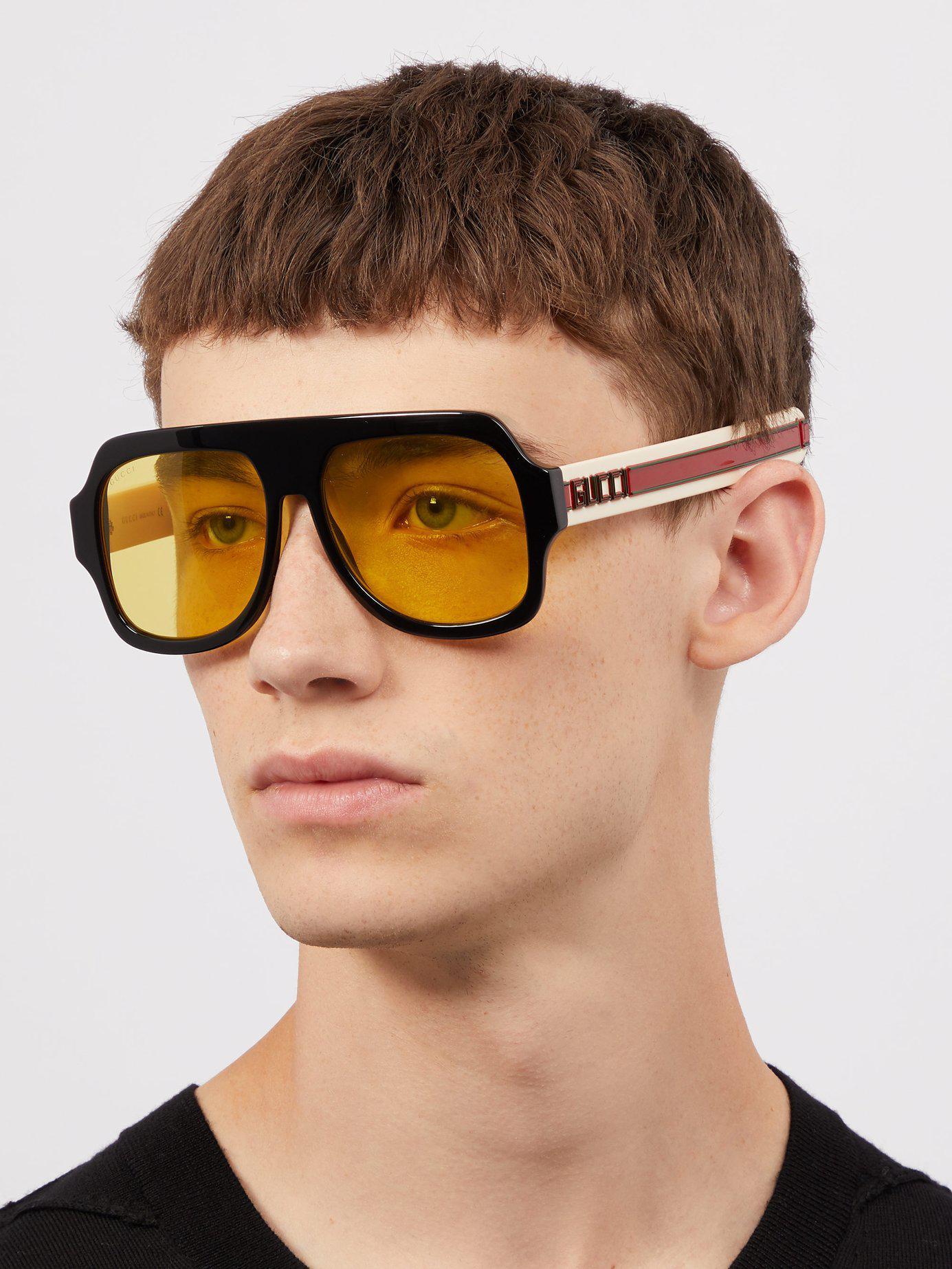 8cbc124e335 Lyst - Gucci D Frame Acetate Sunglasses in Black for Men