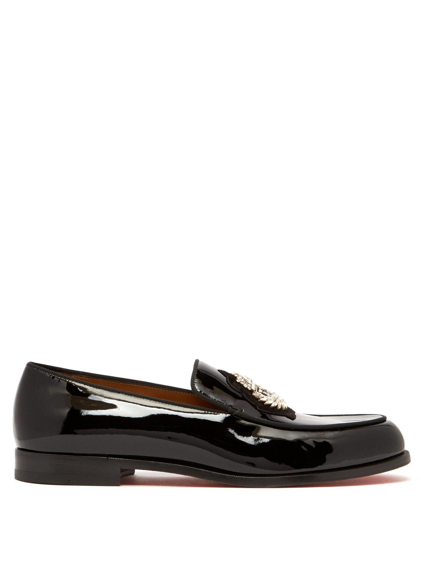 ca941462c84 Christian Louboutin. Men s Black Laperouse Crystal Embellished Patent  Loafers