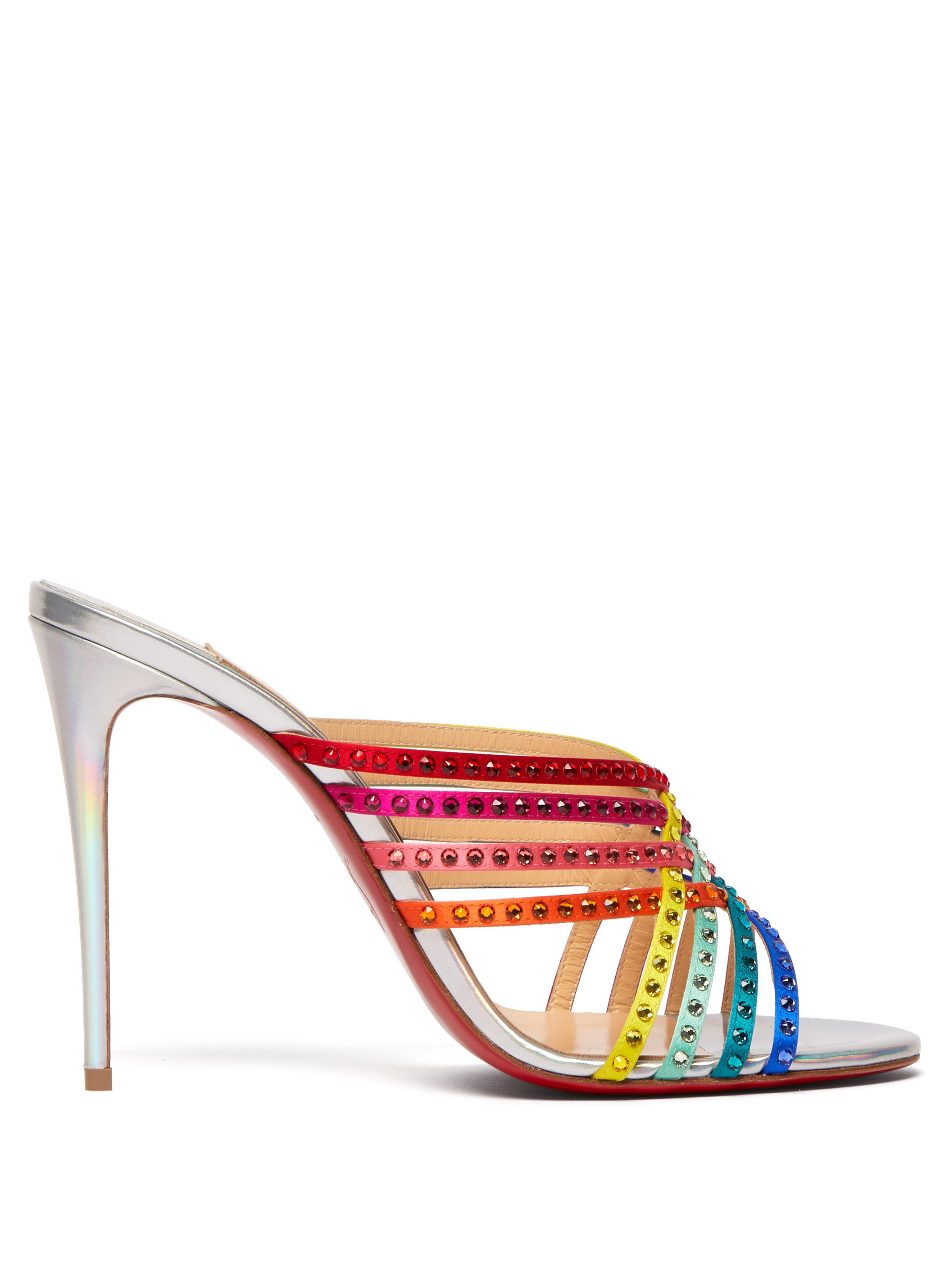 a842e39c1b36 Christian Louboutin Marthastrass Rainbow Crystal Mules - Save 12% - Lyst