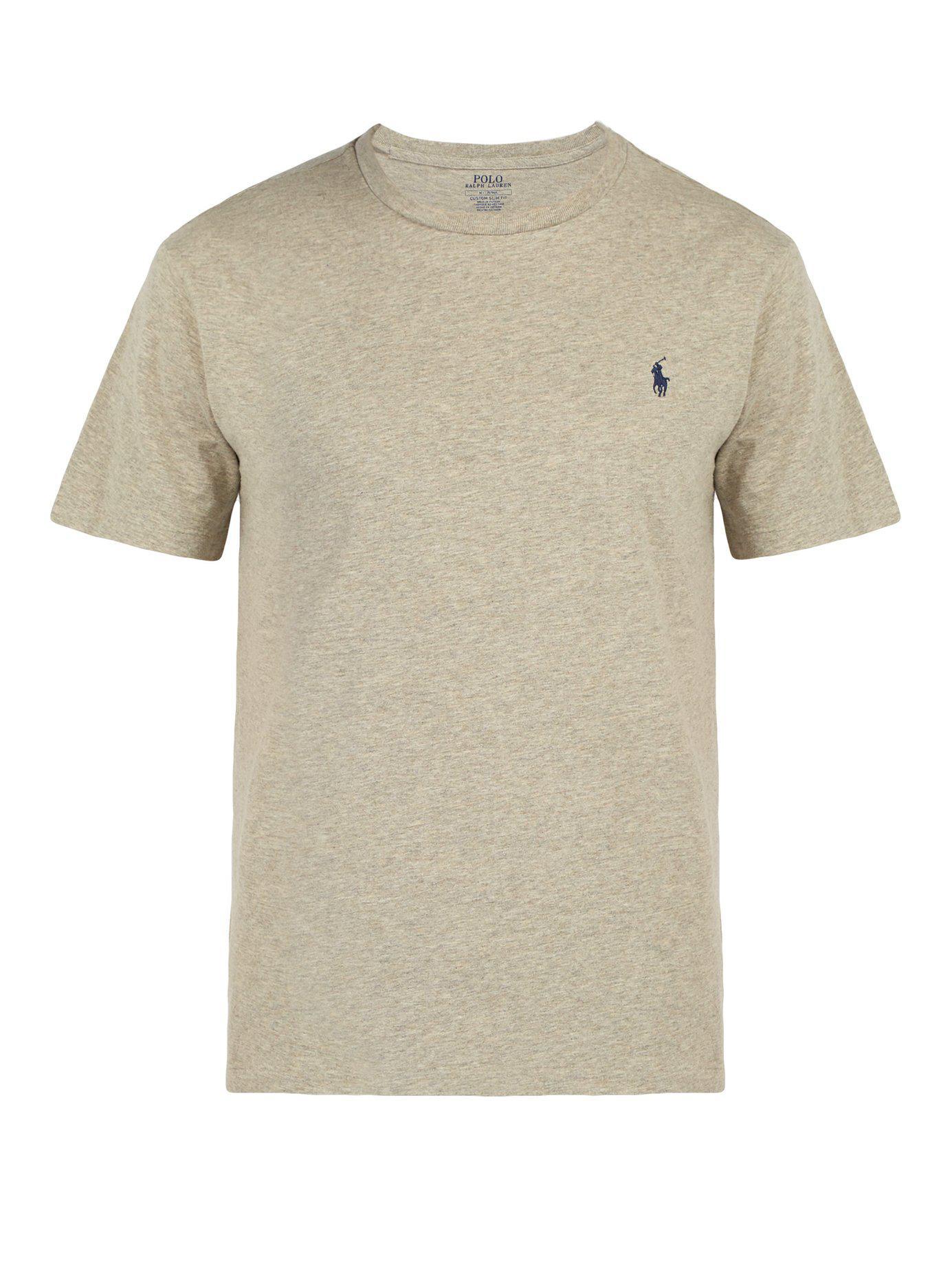18de8b50 Polo Ralph Lauren - Gray Logo Embroidered Cotton Jersey T Shirt for Men -  Lyst. View fullscreen