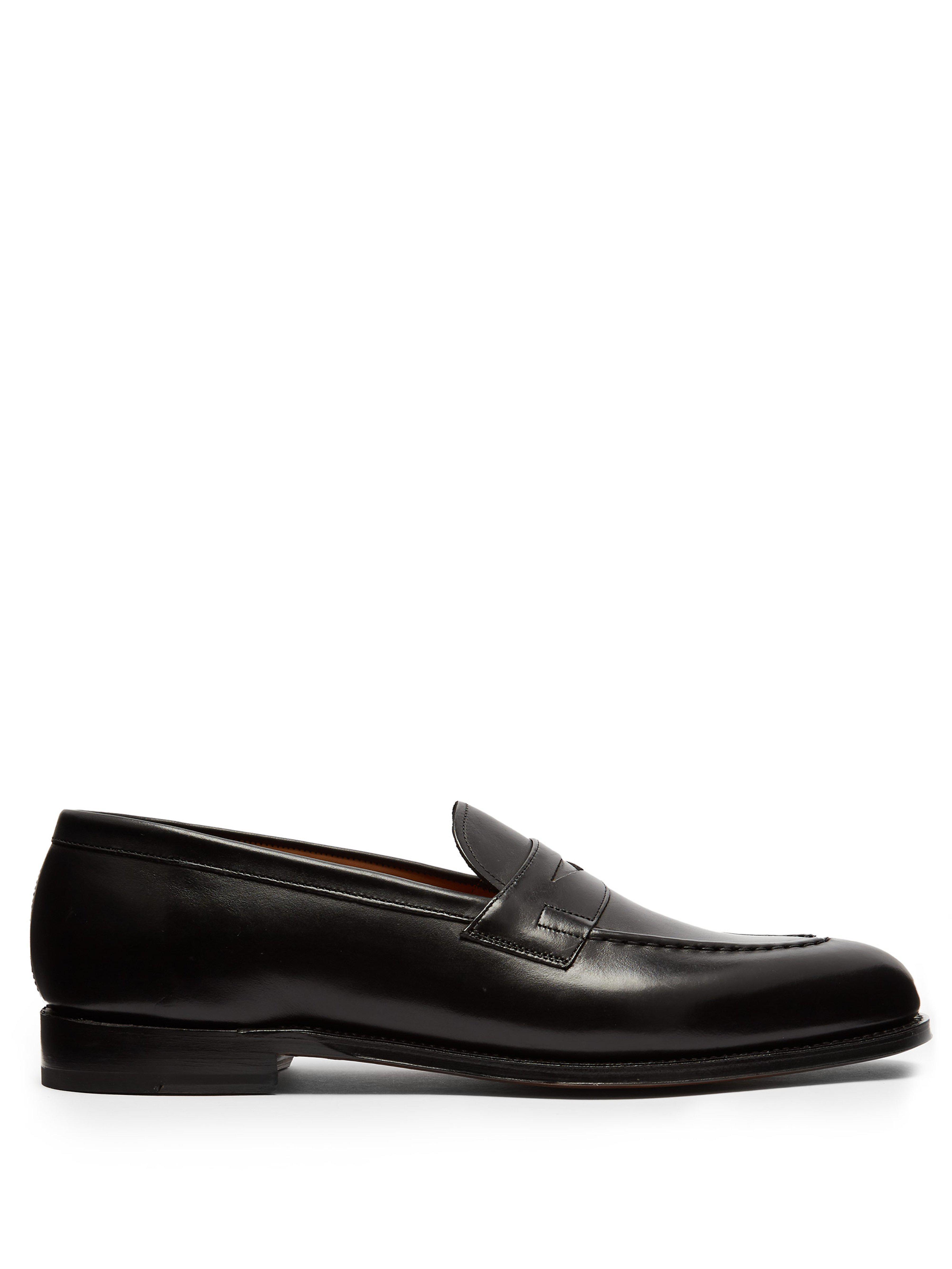 6e897dbde68 GRENSON - Black Lloyd Leather Penny Loafers for Men - Lyst. View fullscreen