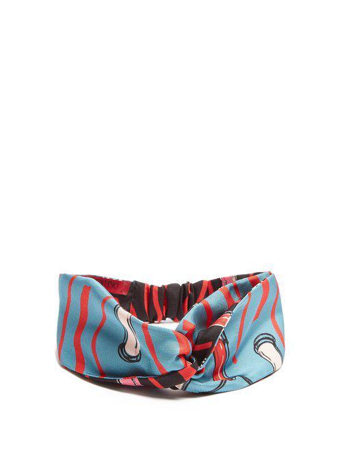 Valentino Lipstick-print silk-twill headband MUki3Eo6u1