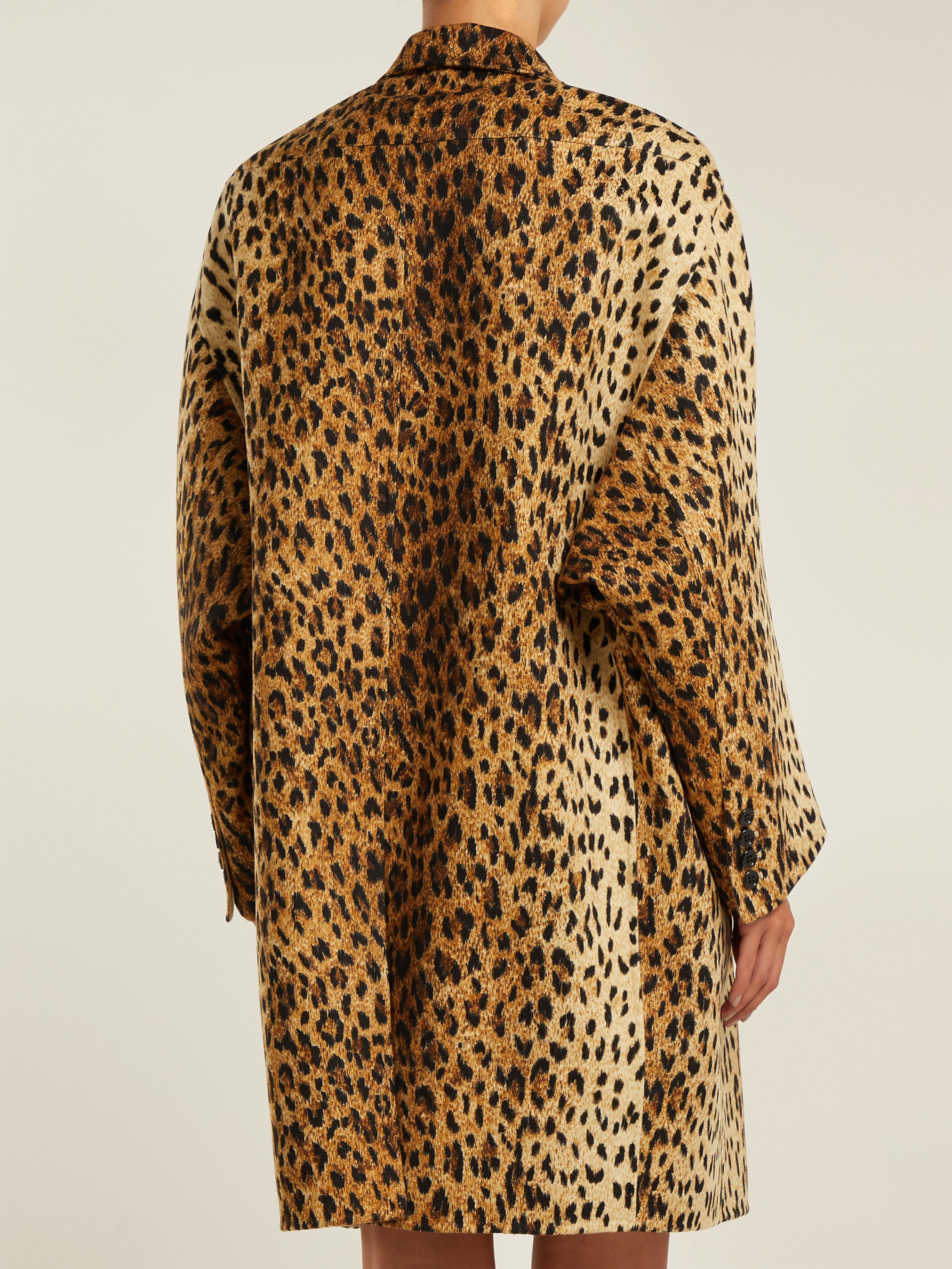 2a8304cf809 Valentino Leopard-print Wool-blend Coat in Brown - Lyst