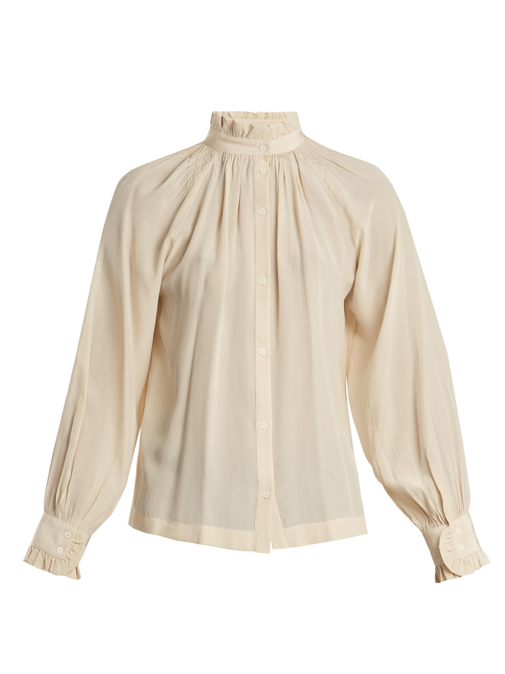 Frill-trimmed stitch-detail silk shirt Masscob Buy Cheap 2018 New Buy Cheap Reliable JbdTNhAr