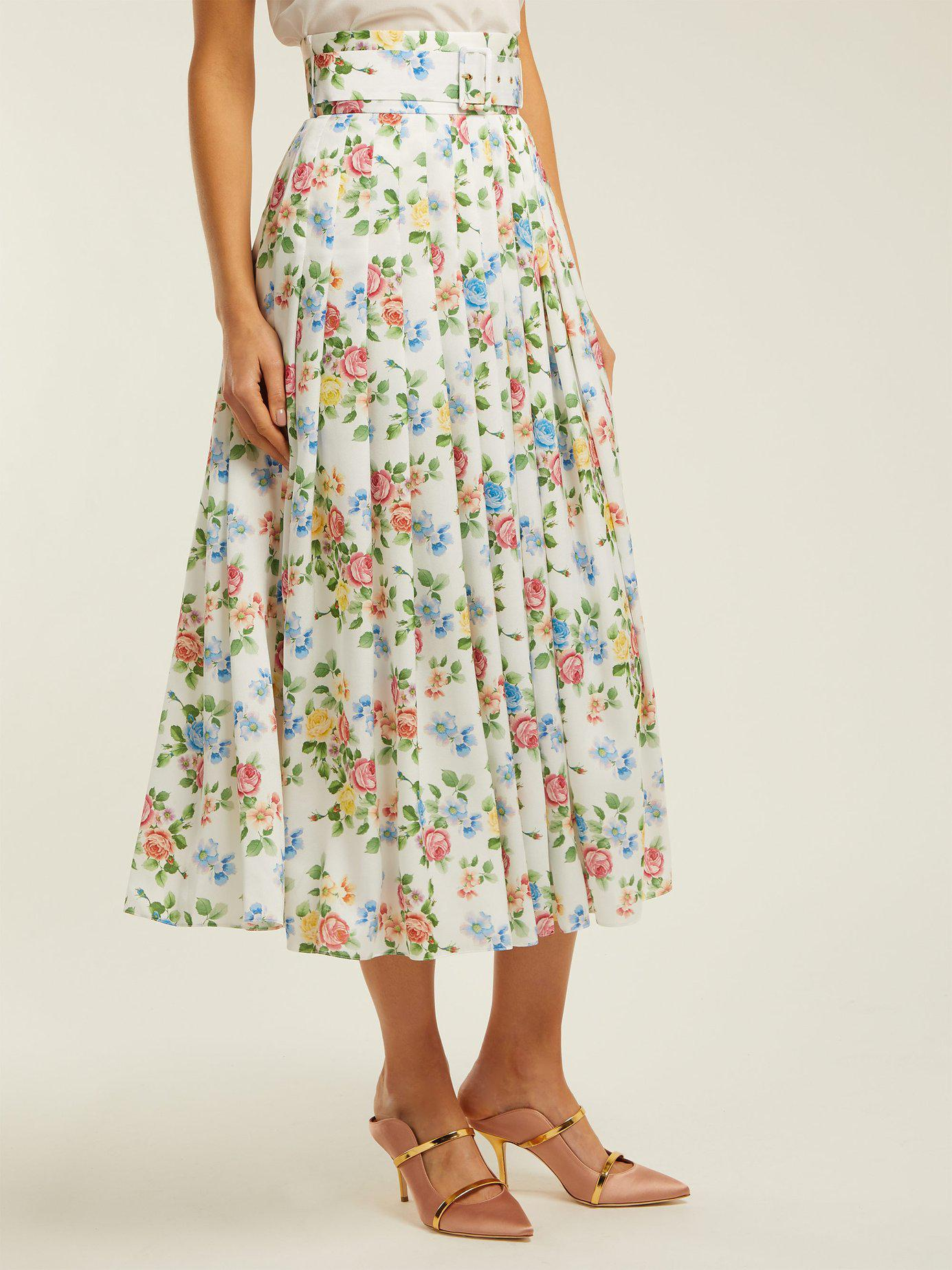 e25cb08145 Emilia Wickstead High Rise Floral Print Midi Skirt in Green - Lyst