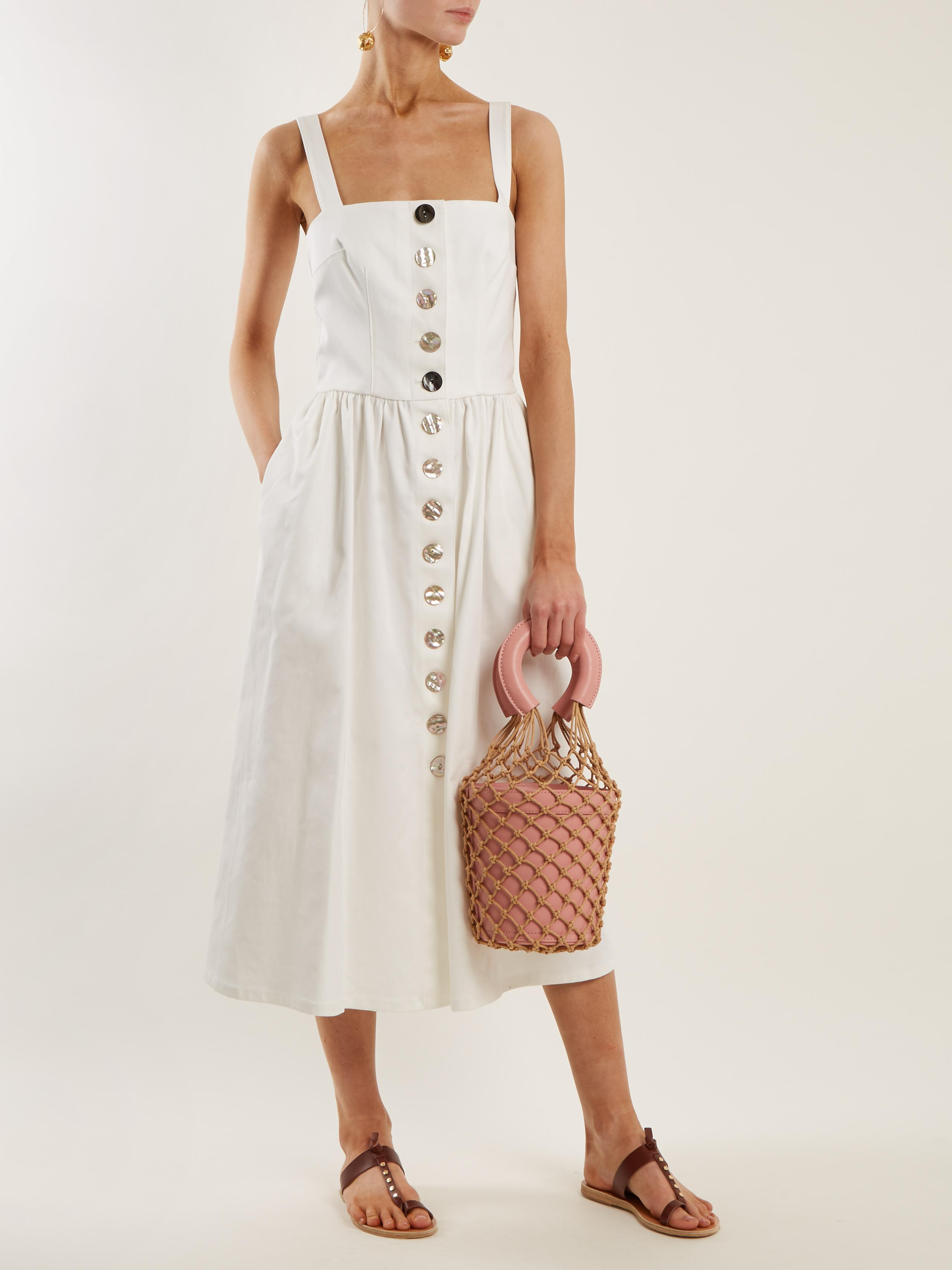2e07904a2 STAUD Moreau Macrame And Leather Bucket Bag in Pink - Lyst