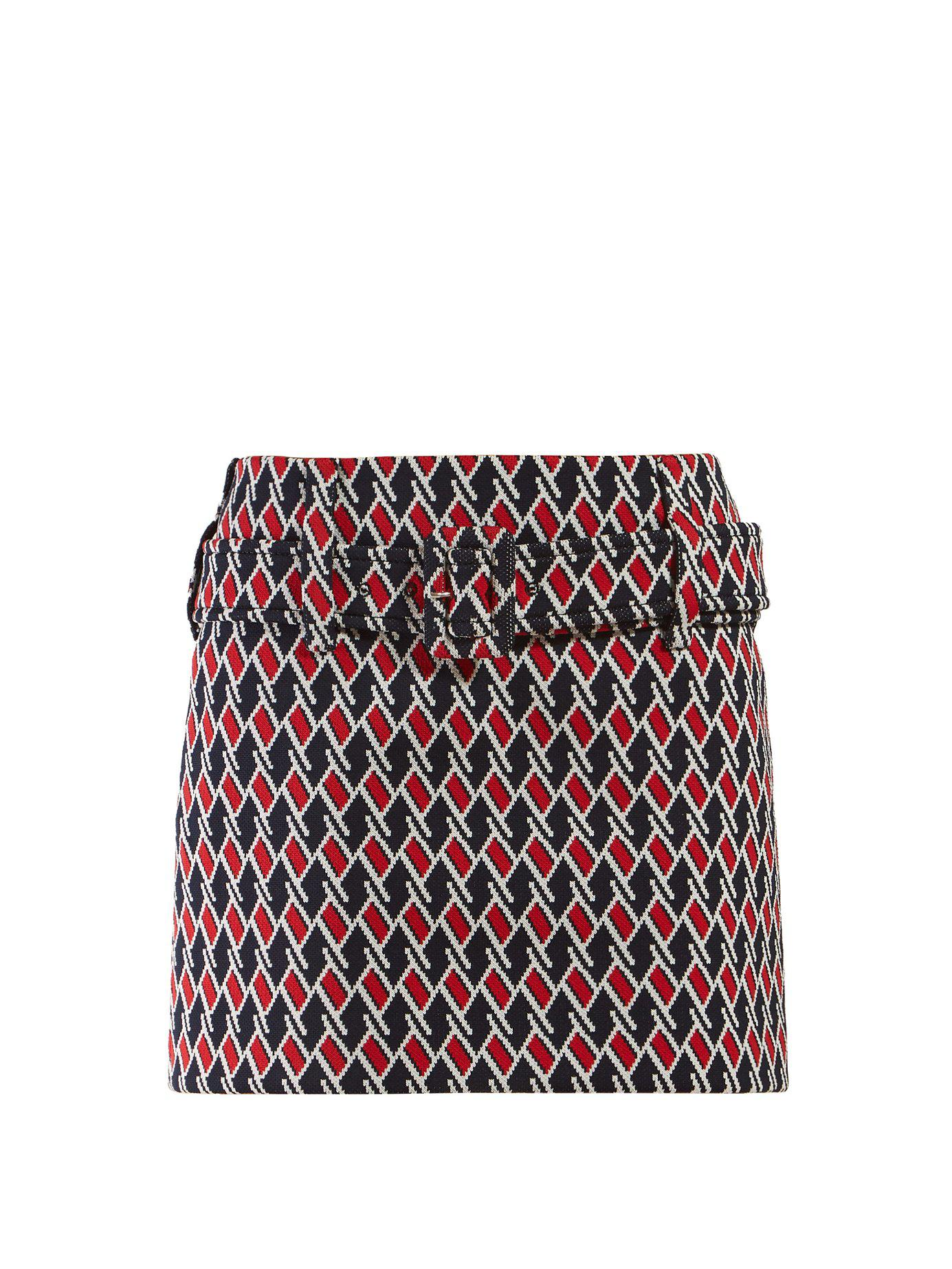b503d2a51ec8 Lyst - Prada Belted Houndstooth Jacquard Mini Skirt in Blue