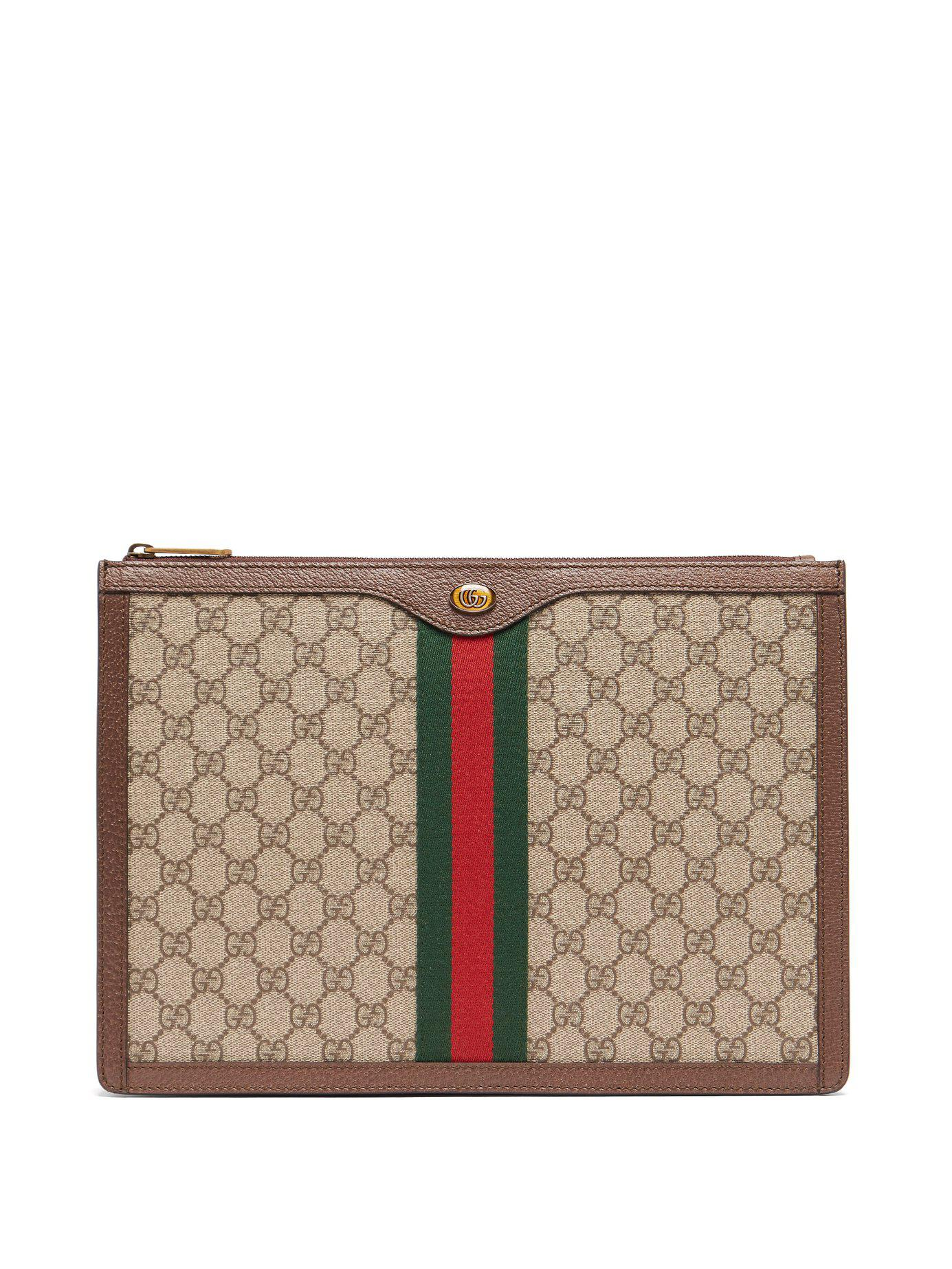 7524cf2f2a2 Lyst - Gucci Gg Supreme Canvas And Leather Portfolio in Natural for Men
