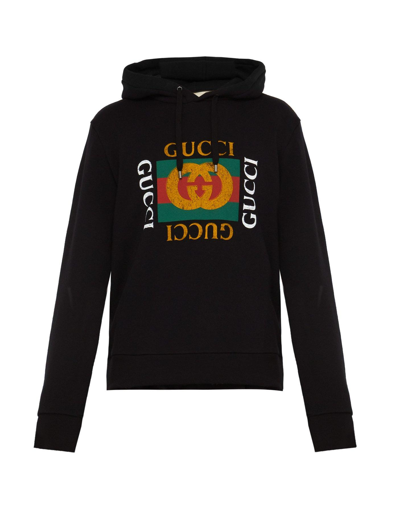 8d7b041a914 Lyst - Gucci Logo-print Hooded Cottons Sweatshirt in Black for Men ...