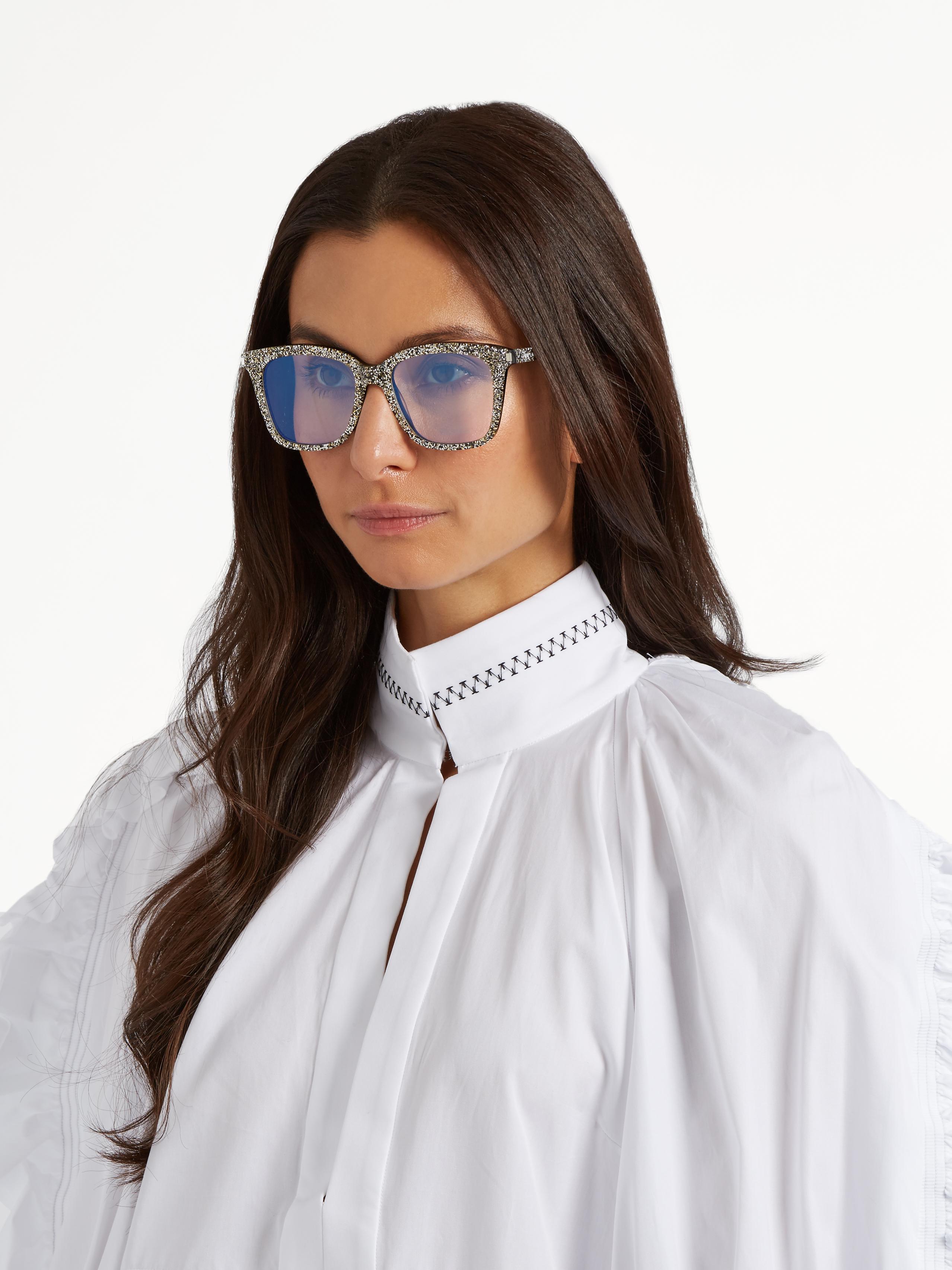 dc64df7791a Lyst - Saint Laurent D-frame Glitter-acetate Glasses in Metallic
