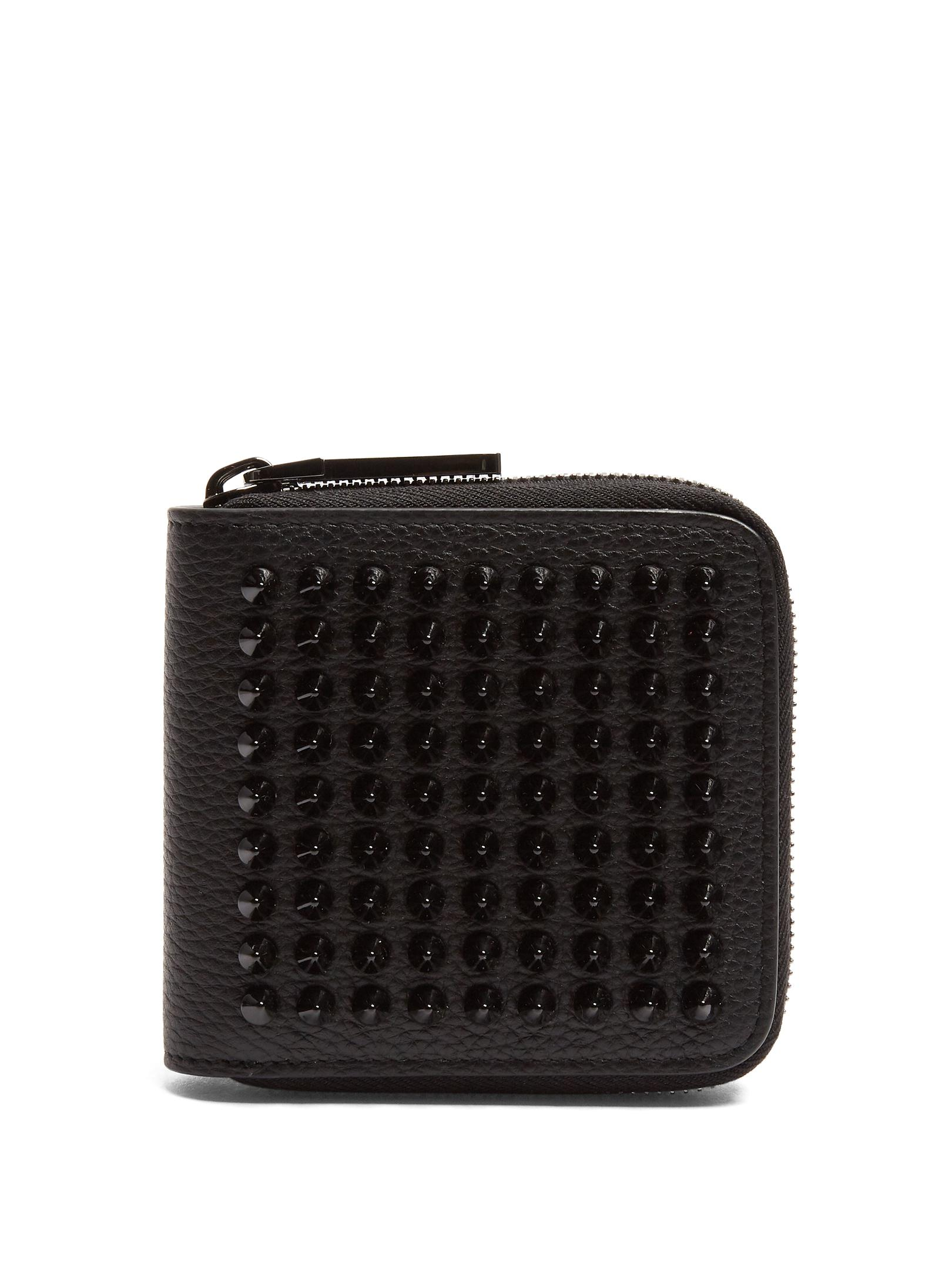 black Panettone spike embellished leather wallet Christian Louboutin