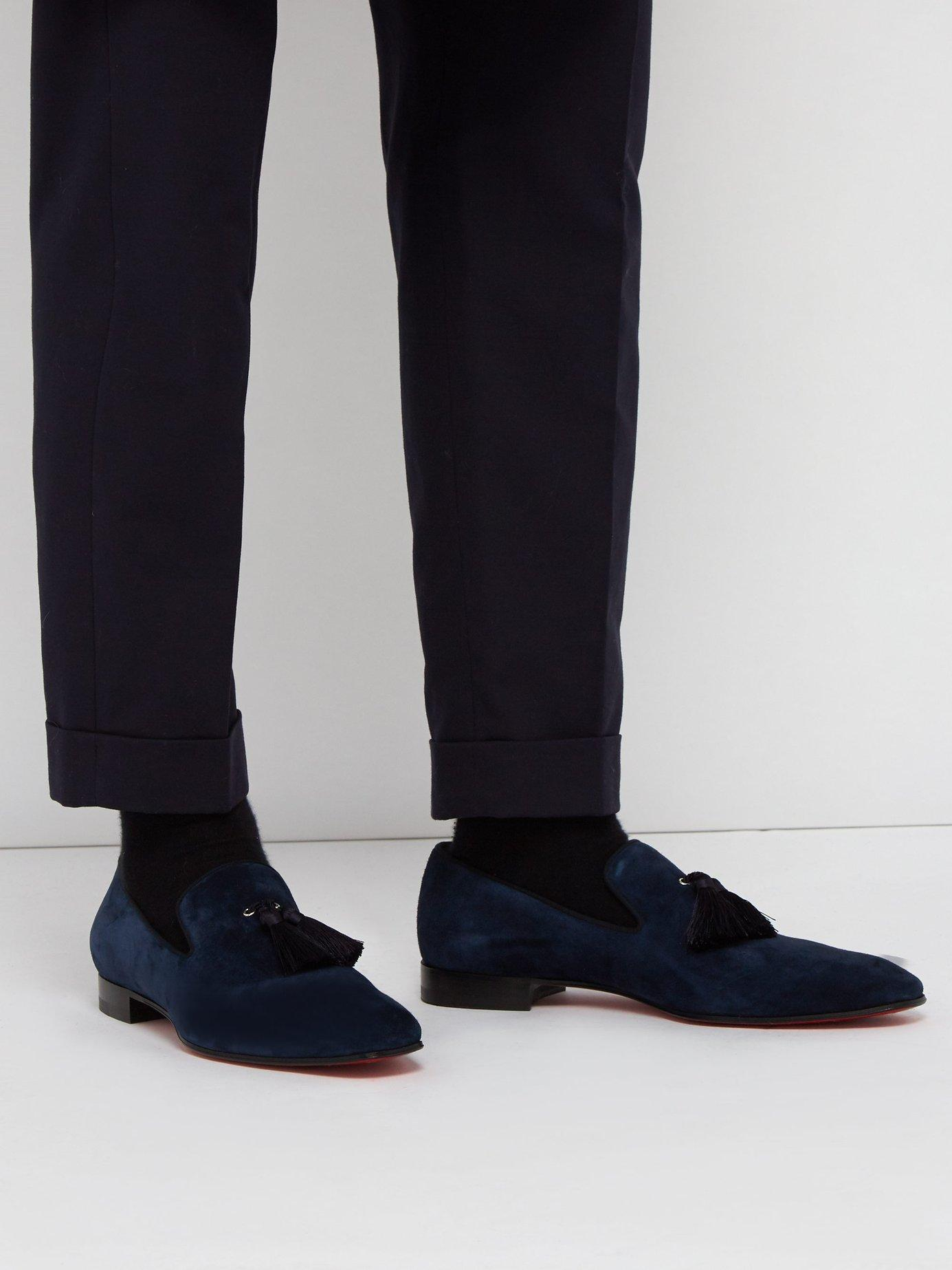 83a90d561bd6 Lyst - Christian Louboutin Officialito Serge Tassel Loafers in Blue for Men