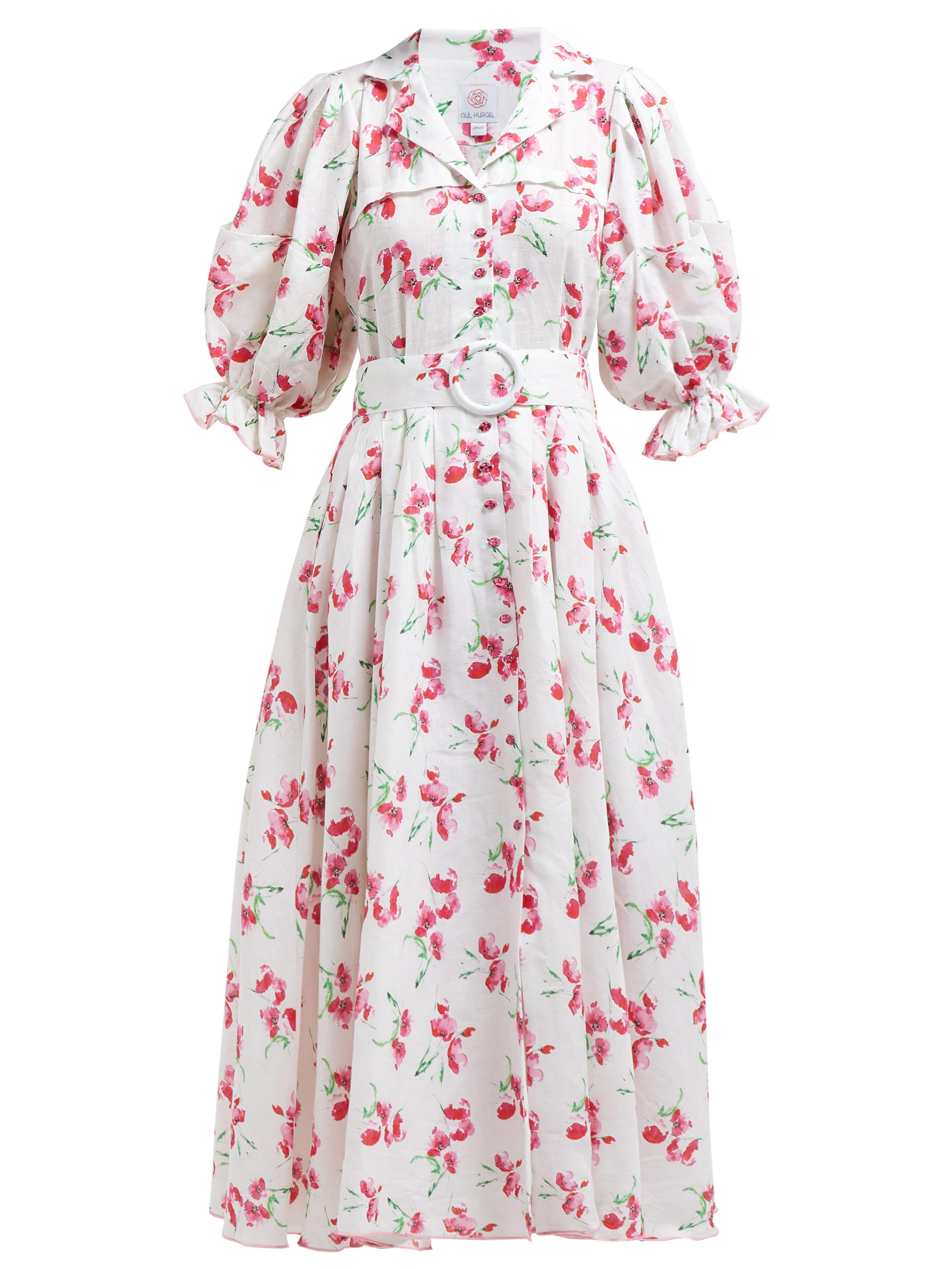 4d48d25468 Gül Hürgel - Pink Floral Print V Neck Linen Midi Dress - Lyst. View  fullscreen