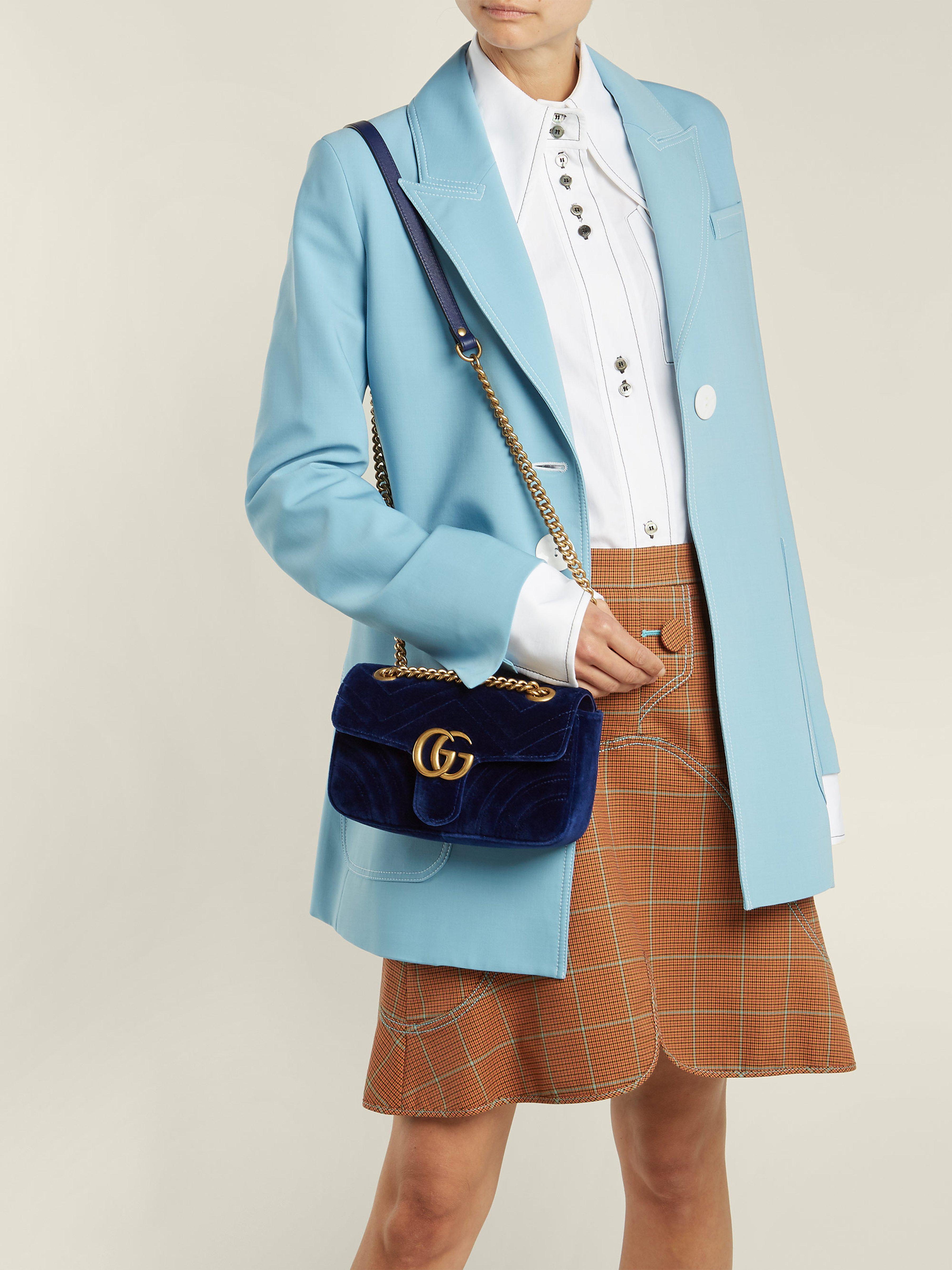 776163193fc7 Gucci - Blue Gg Marmont Mini Quilted Velvet Cross Body Bag - Lyst. View  fullscreen