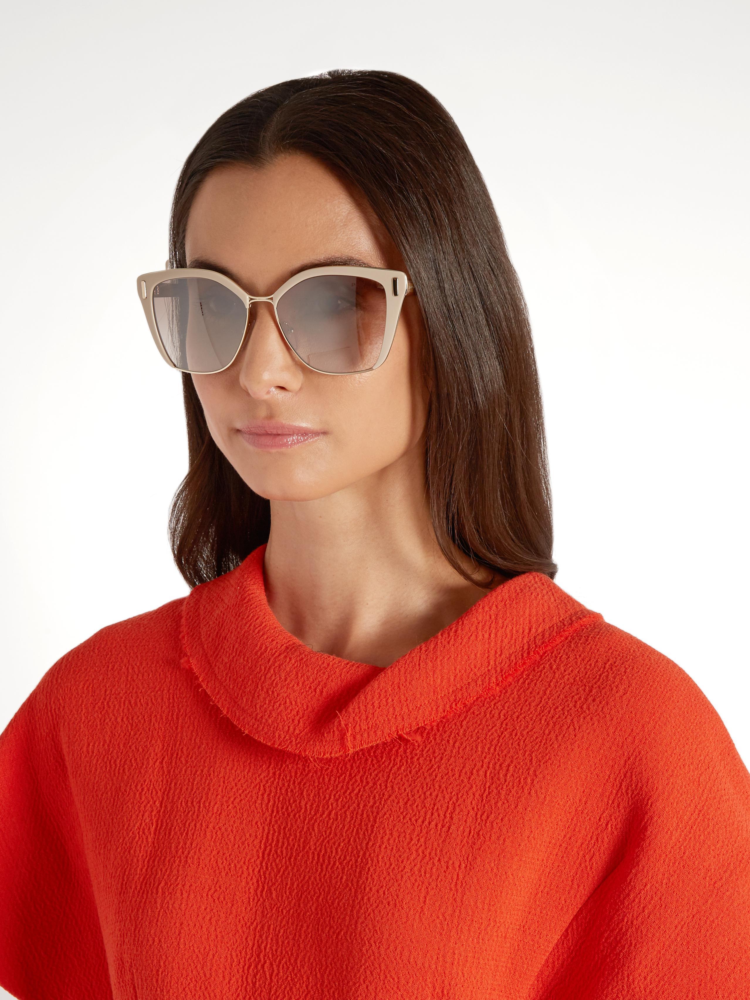 310abba292fab Lyst - Prada Cat-eye Acetate And Metal Sunglasses in Natural