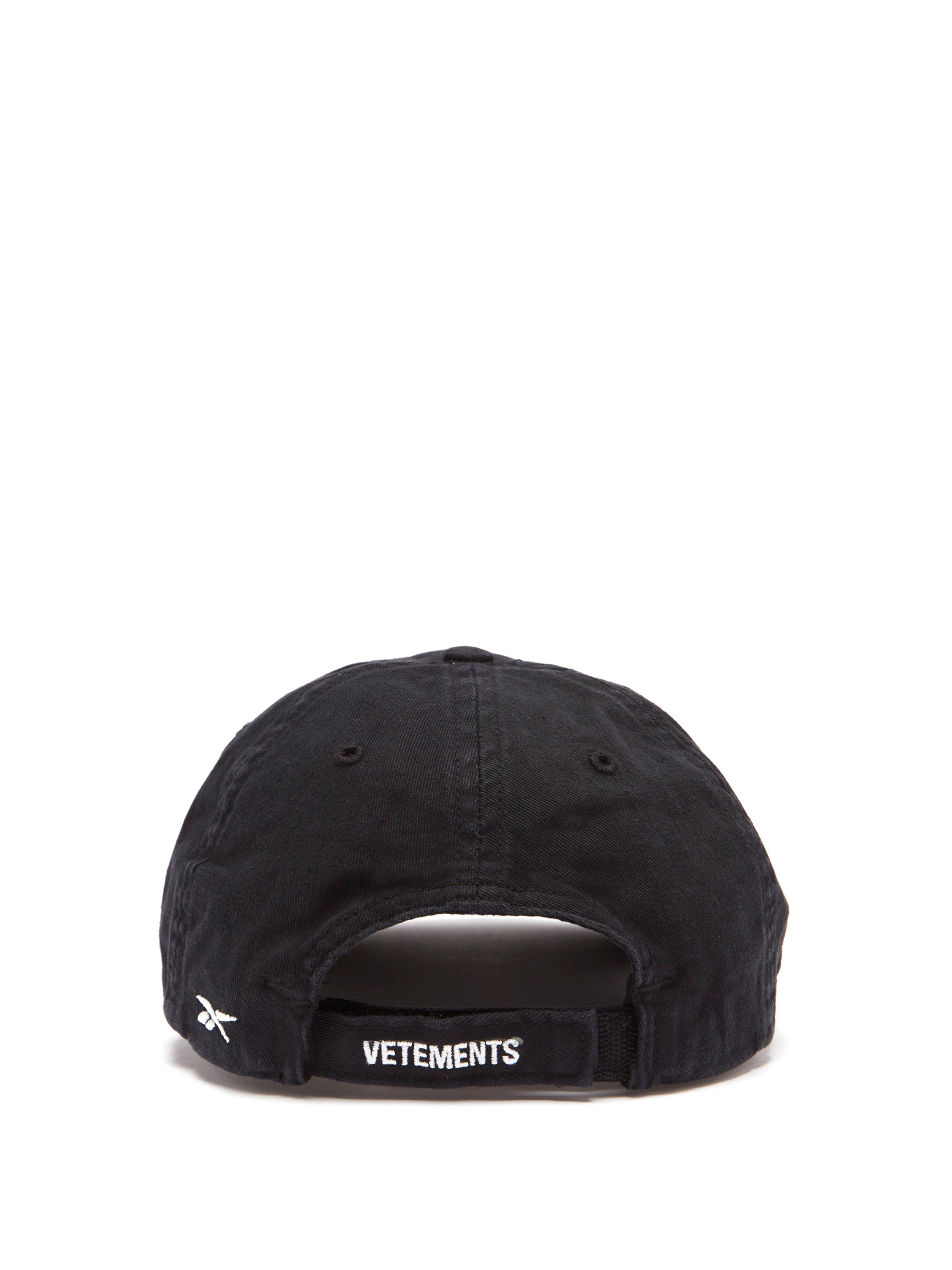 82e4b493402027 Vetements X Reebok Friday Embroidered Cotton Cap in Black - Lyst