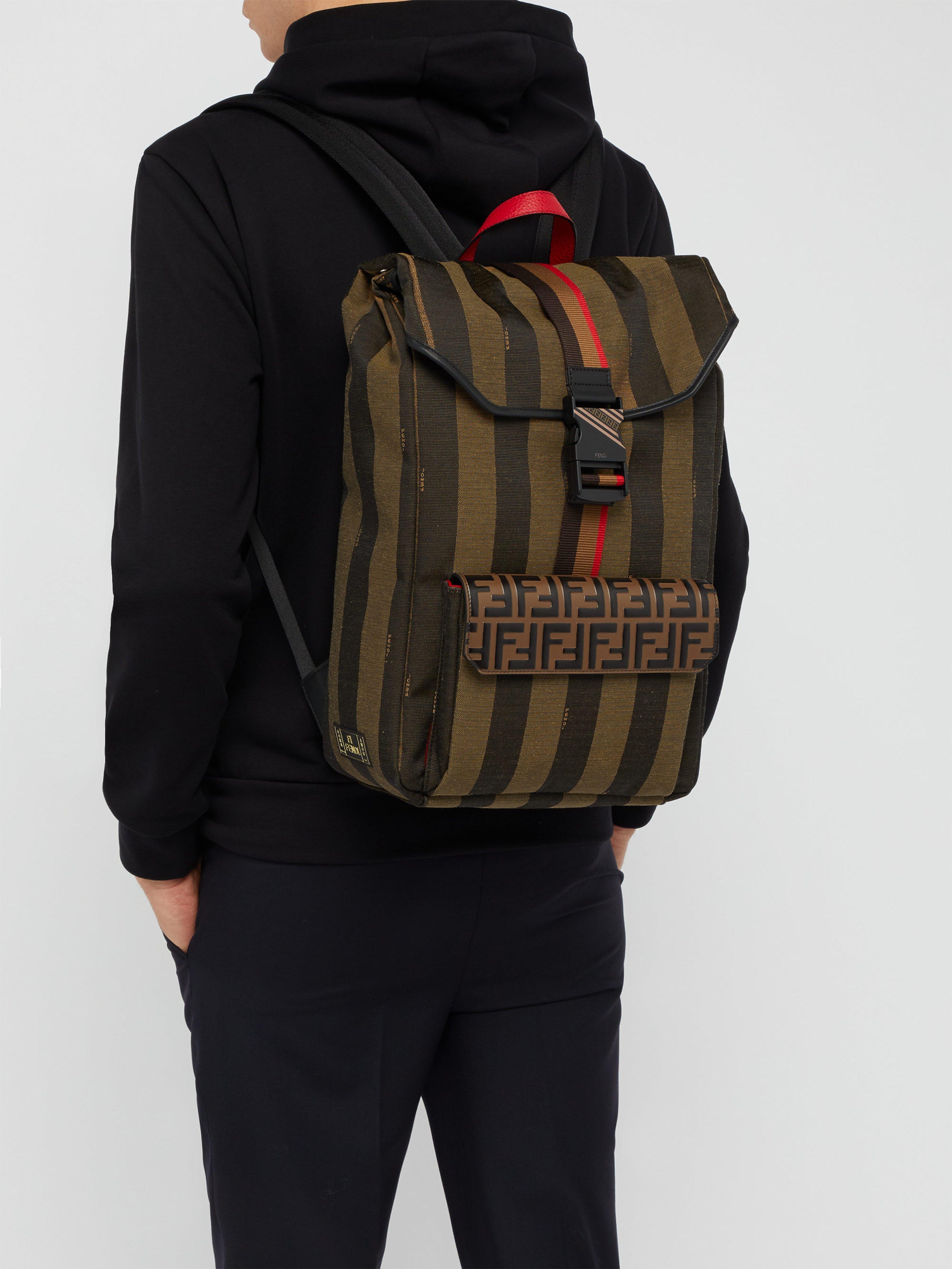 e634311981af Fendi - Brown Ff Striped Canvas Backpack for Men - Lyst. View fullscreen