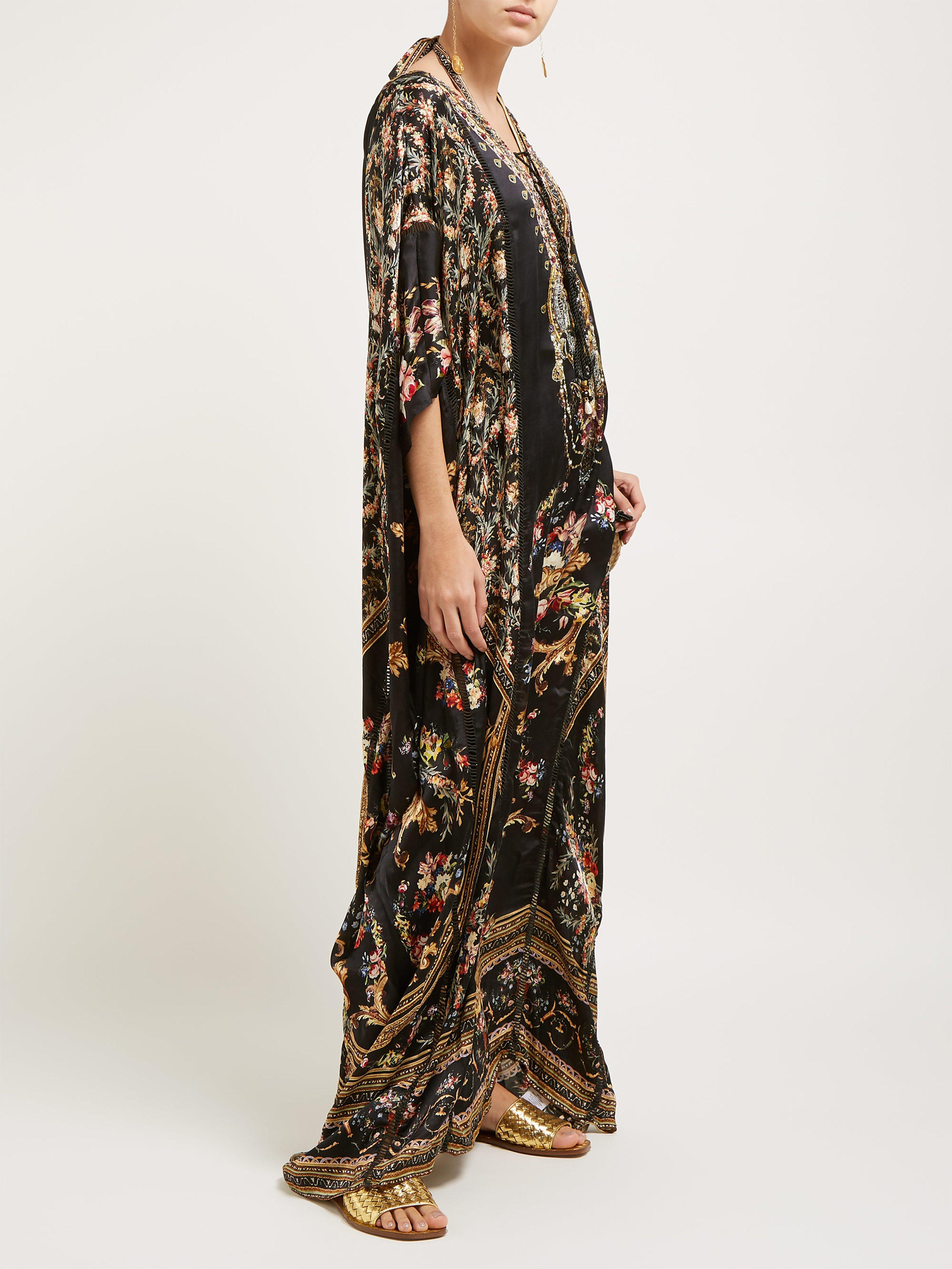 2455d3fe4b204 Camilla Friend In Flora Print Silk Kaftan in Black - Lyst