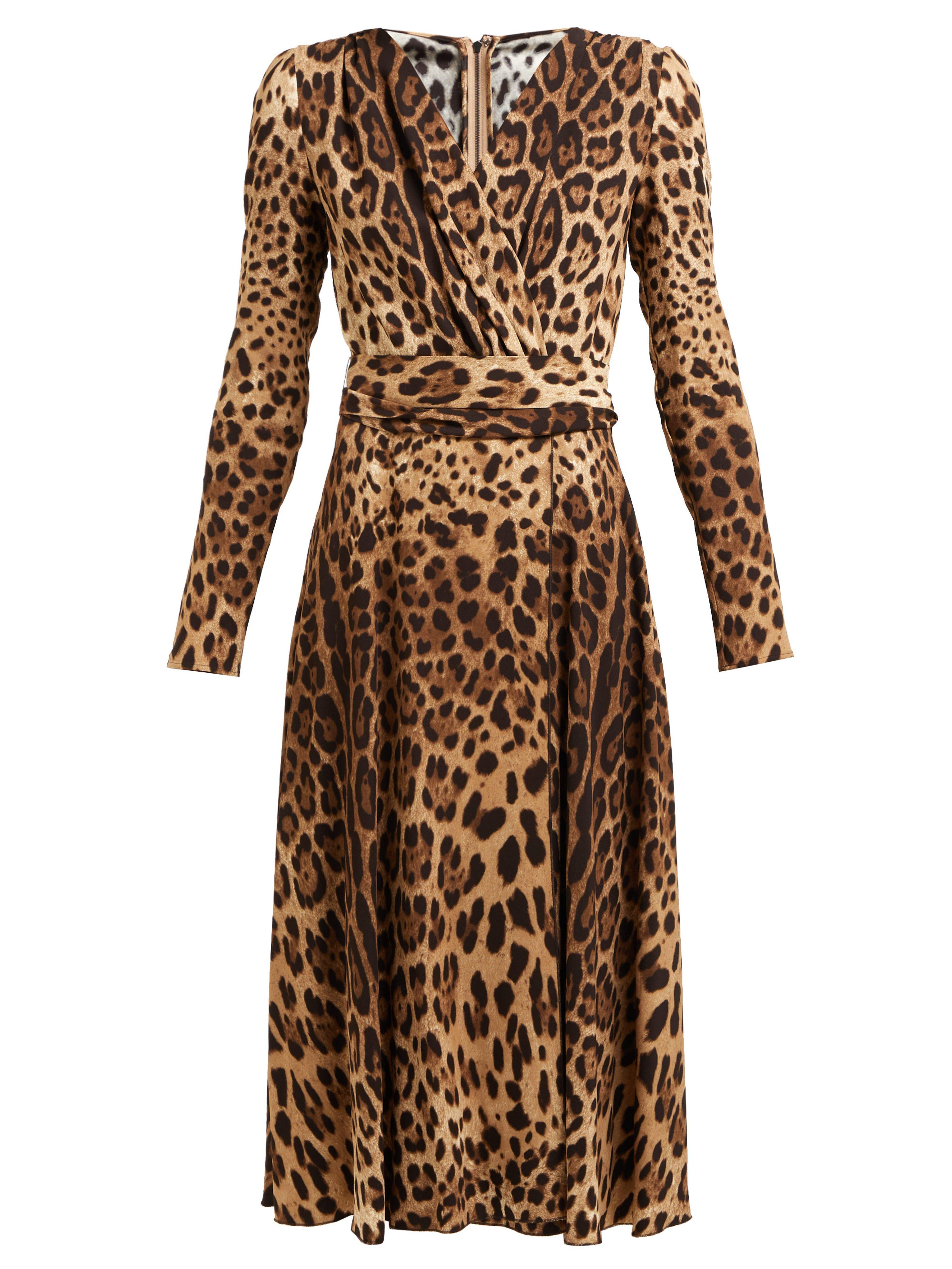 Dolce   Gabbana Leopard Print Belted Dress in Brown - Lyst e57035f28