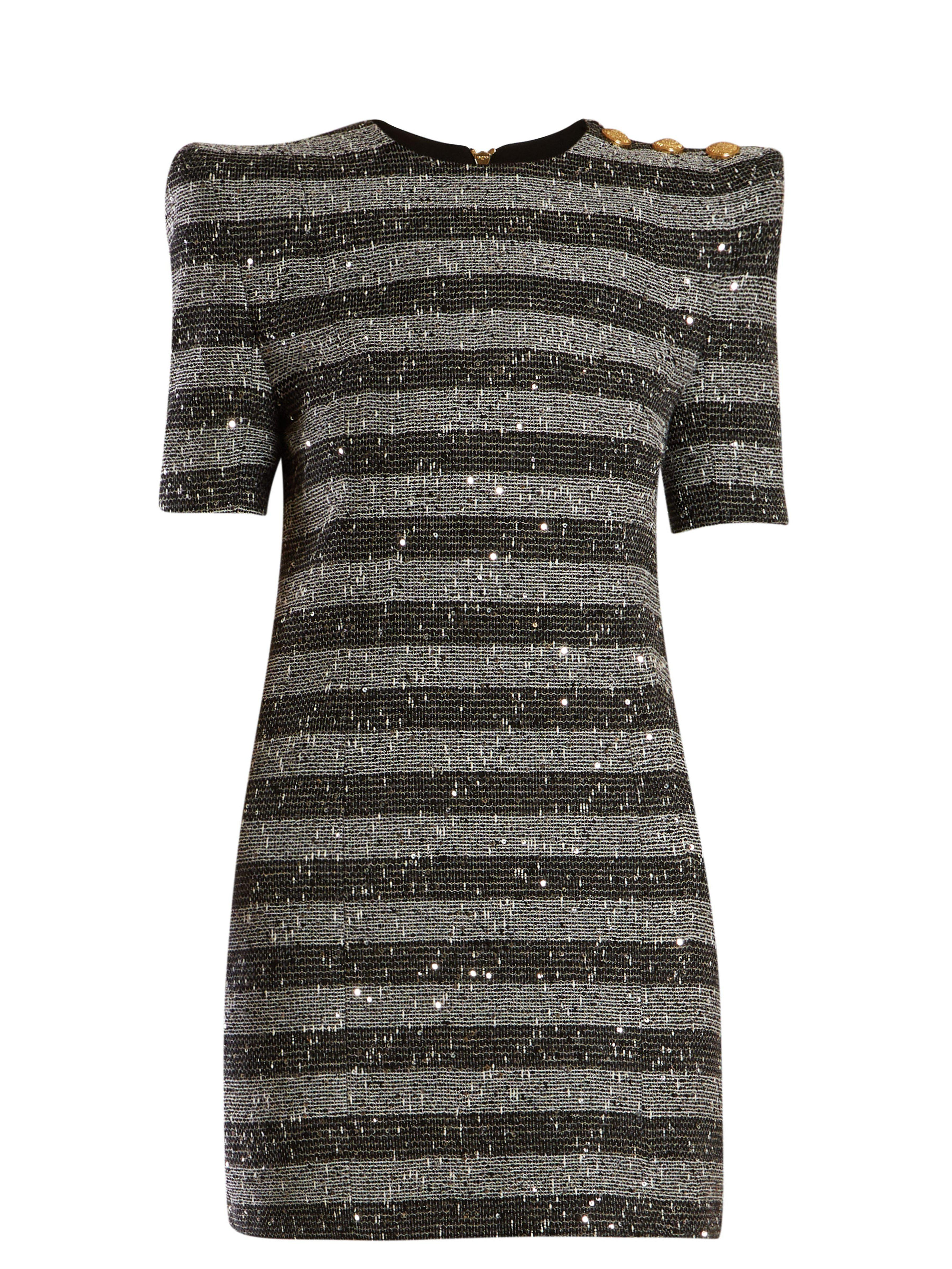 d78f04a2 Balmain Striped Metallic Tweed Mini Dress in Black - Lyst