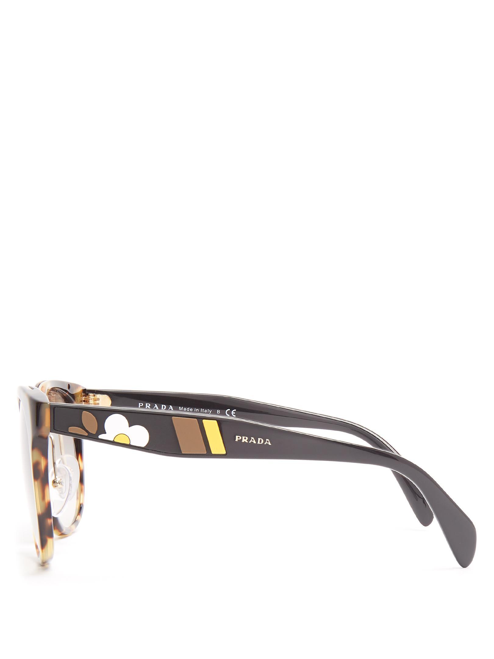 95e840f1e8d1 ... australia lyst prada round frame floral embellished acetate sunglasses  dd3e6 7ab05