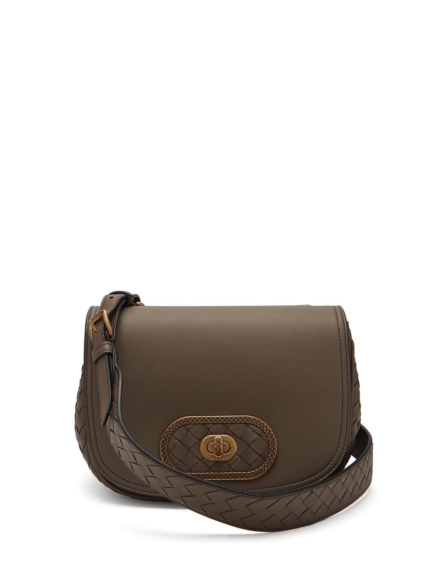 Lyst - Bottega Veneta Bv Luna Leather Cross Body Bag in Gray 6db17f619af4b