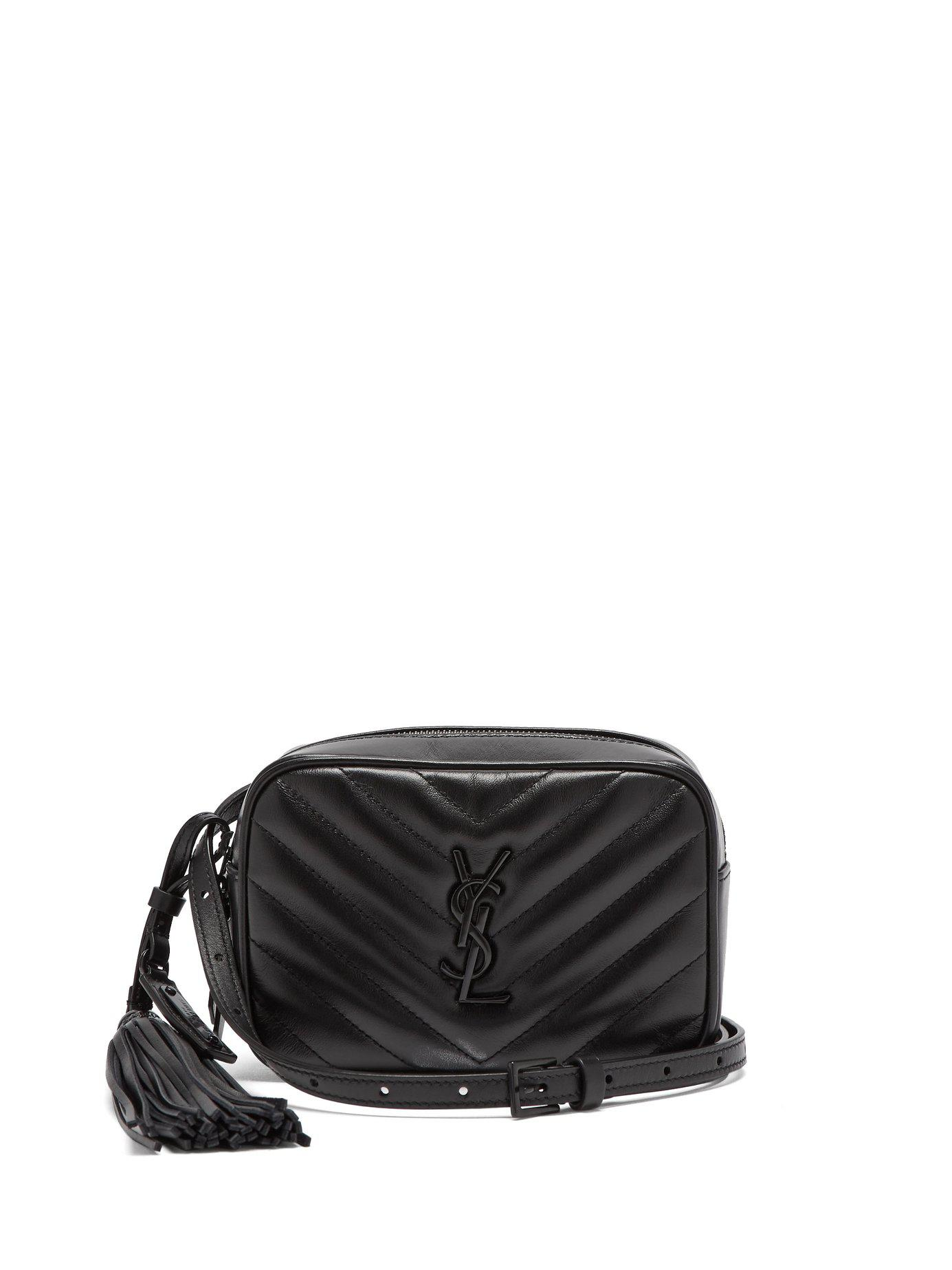 0c3256148ab7 Lyst - Saint Laurent Lou Chevron Quilted Leather Belt Bag in Black