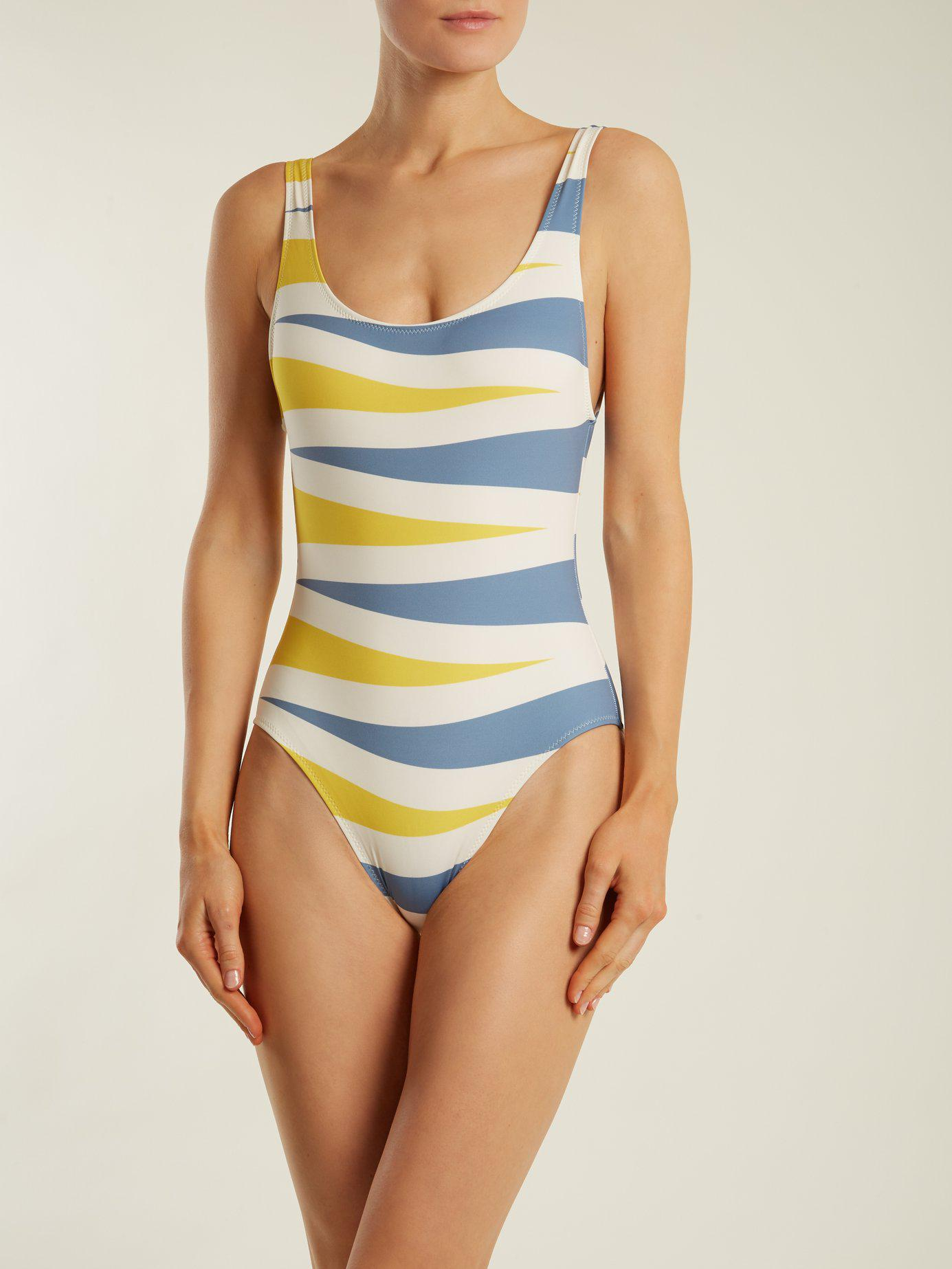 5d0a3af3a9775 Lyst - Solid & Striped The Anne Marie Backgammon Print Swimsuit