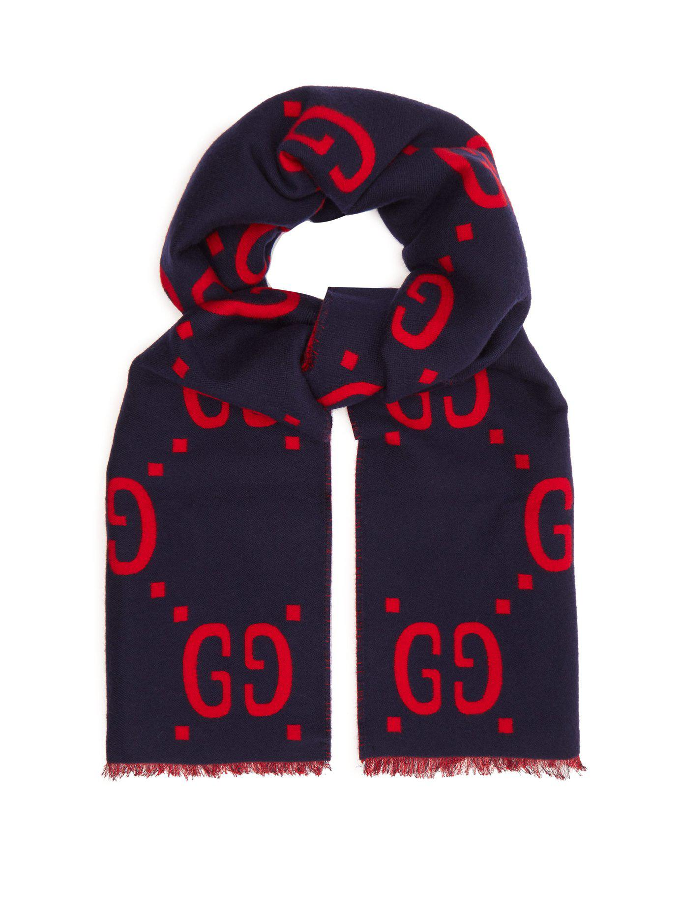 cd67ba078e507 Lyst - Gucci Gg Jacquard Wool Blend Scarf in Blue for Men - Save 20%