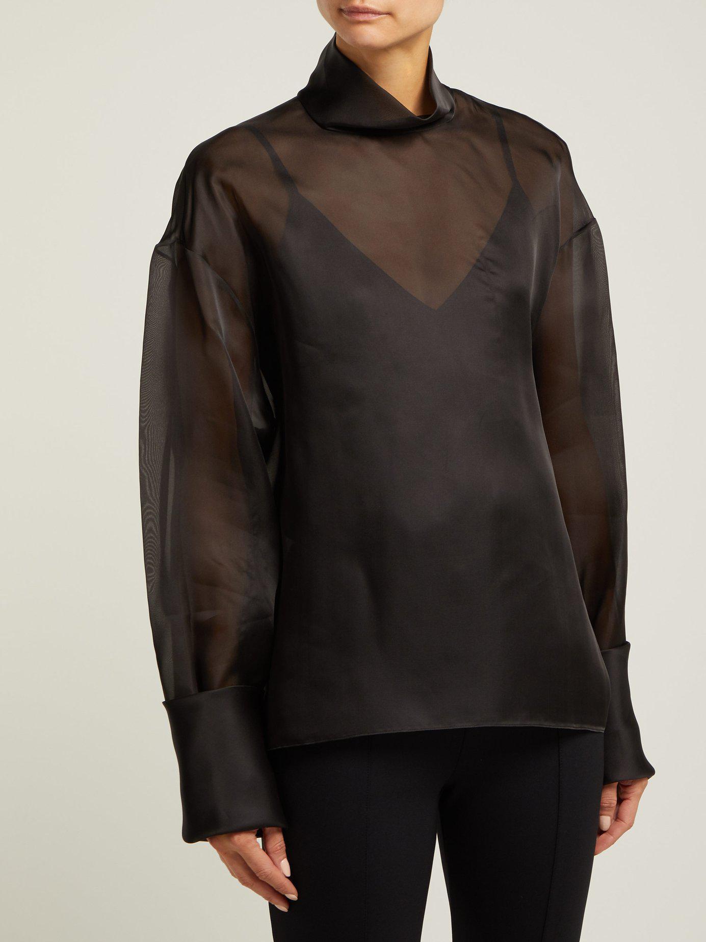 ef8b931a8528d Lyst - The Row Karlee Silk Organza Blouse in Black