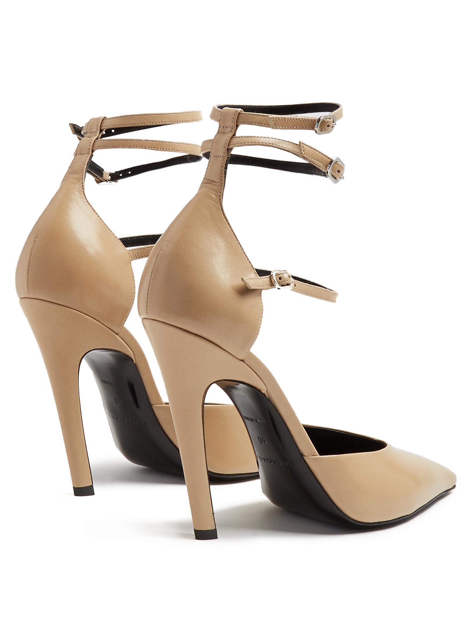 eecef2c52762 Lyst - Balenciaga Slash Triple-strap Leather Pumps