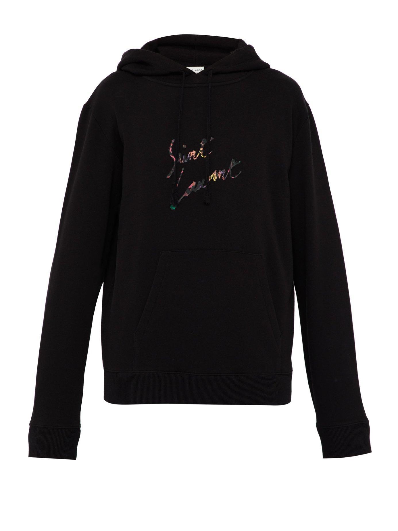 90823b12988 Saint Laurent. Men's Black Destroyed Logo Printed Cotton Hooded Sweatshirt