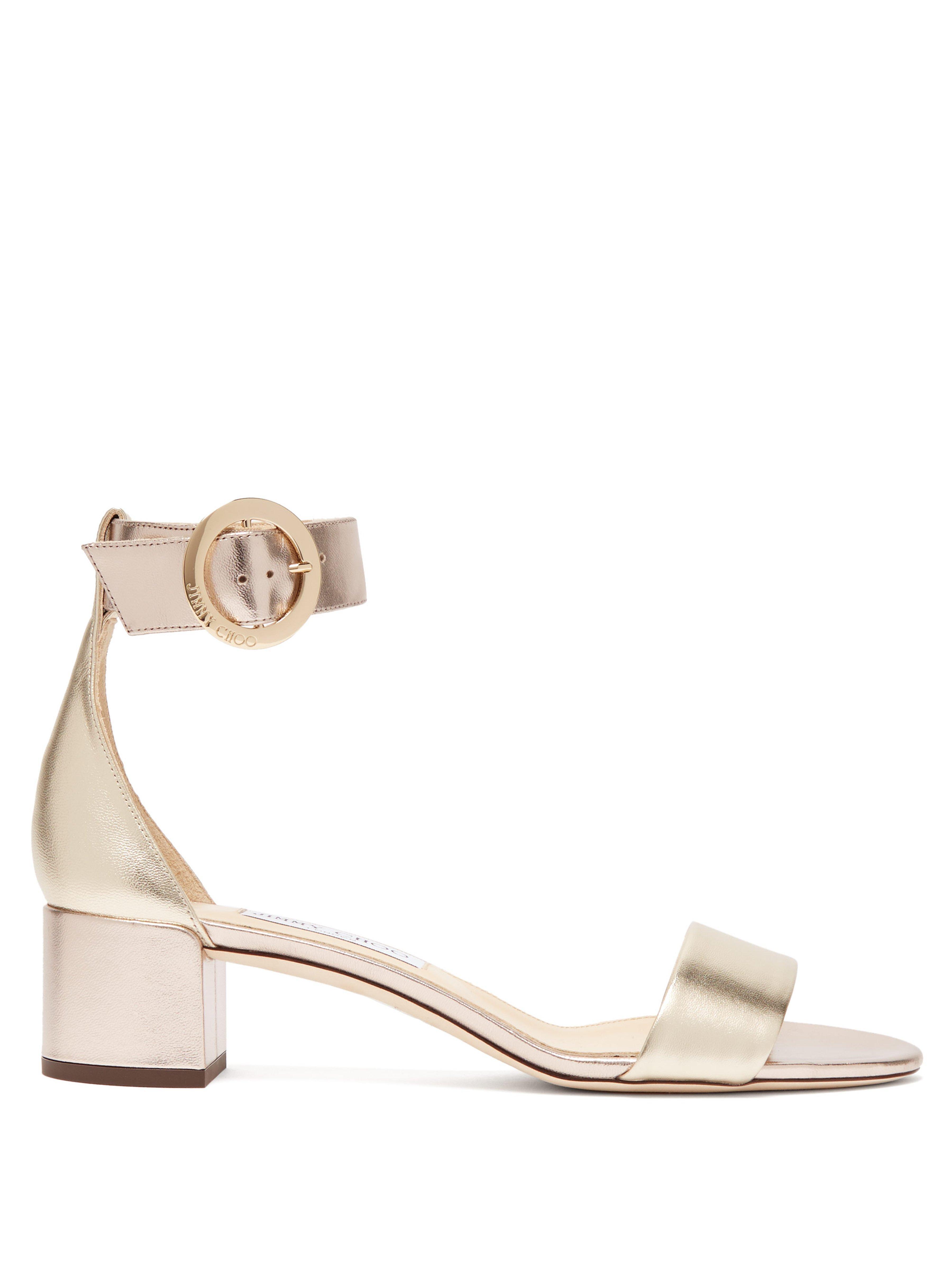 eed15093ba9 Jimmy Choo Jaimie Block Heel Metallic Leather Sandals in Metallic - Lyst