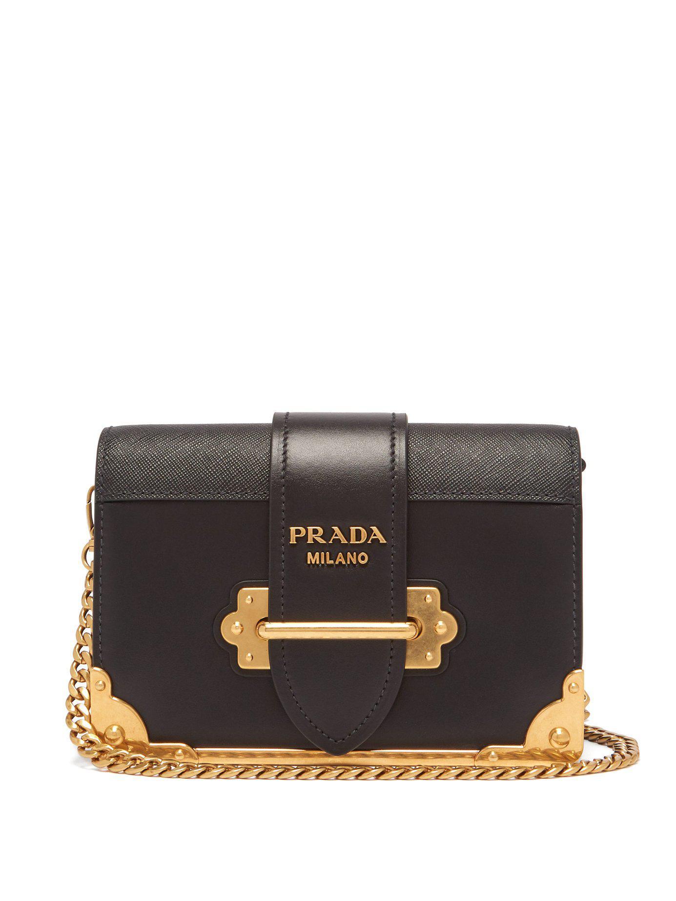 Lyst - Prada Cahier Leather Shoulder Bag in Black - Save 13% 8f17bdff37119