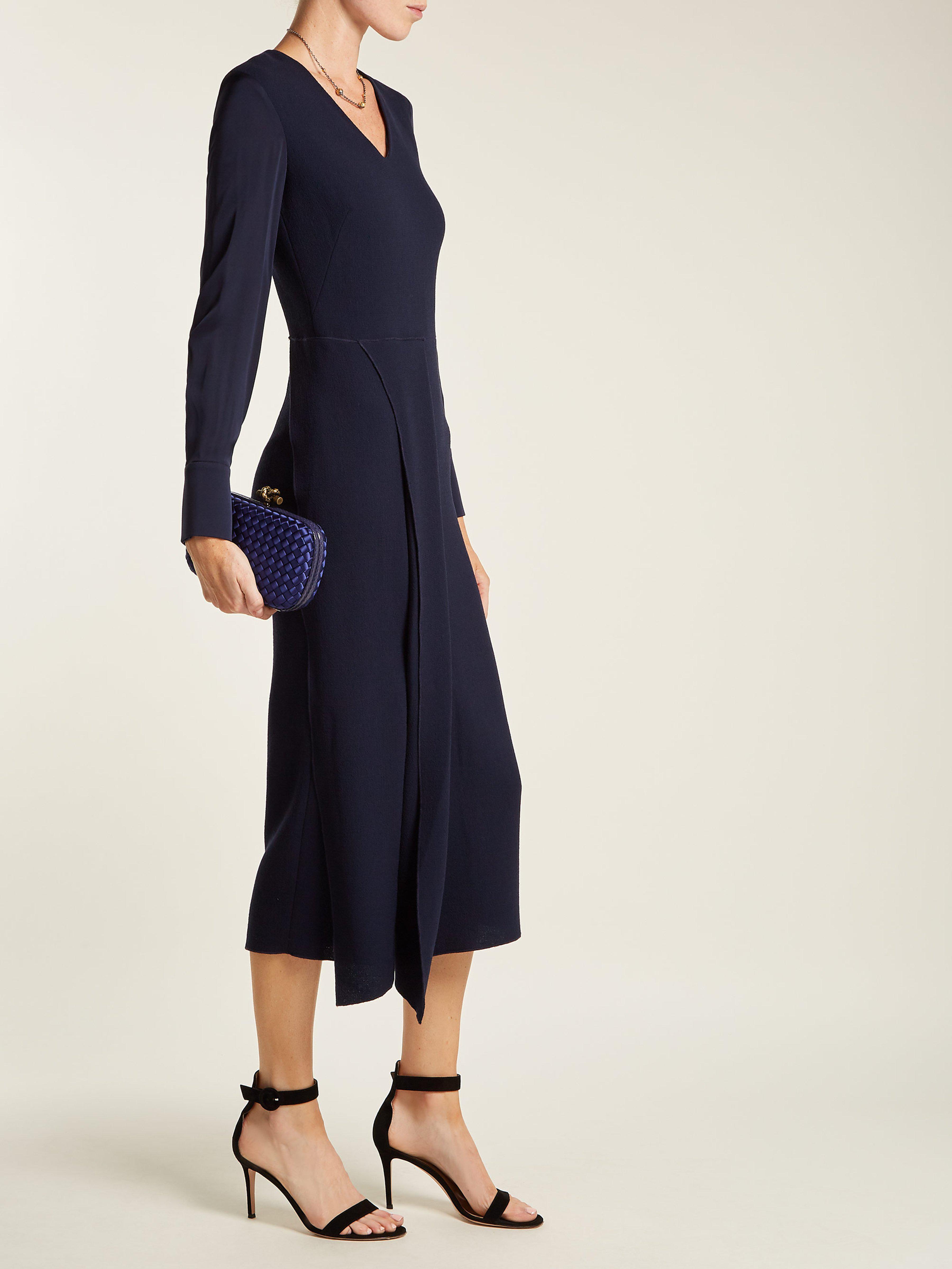 98825909c0 Bottega Veneta Knot Satin And Watersnake Clutch in Blue - Lyst