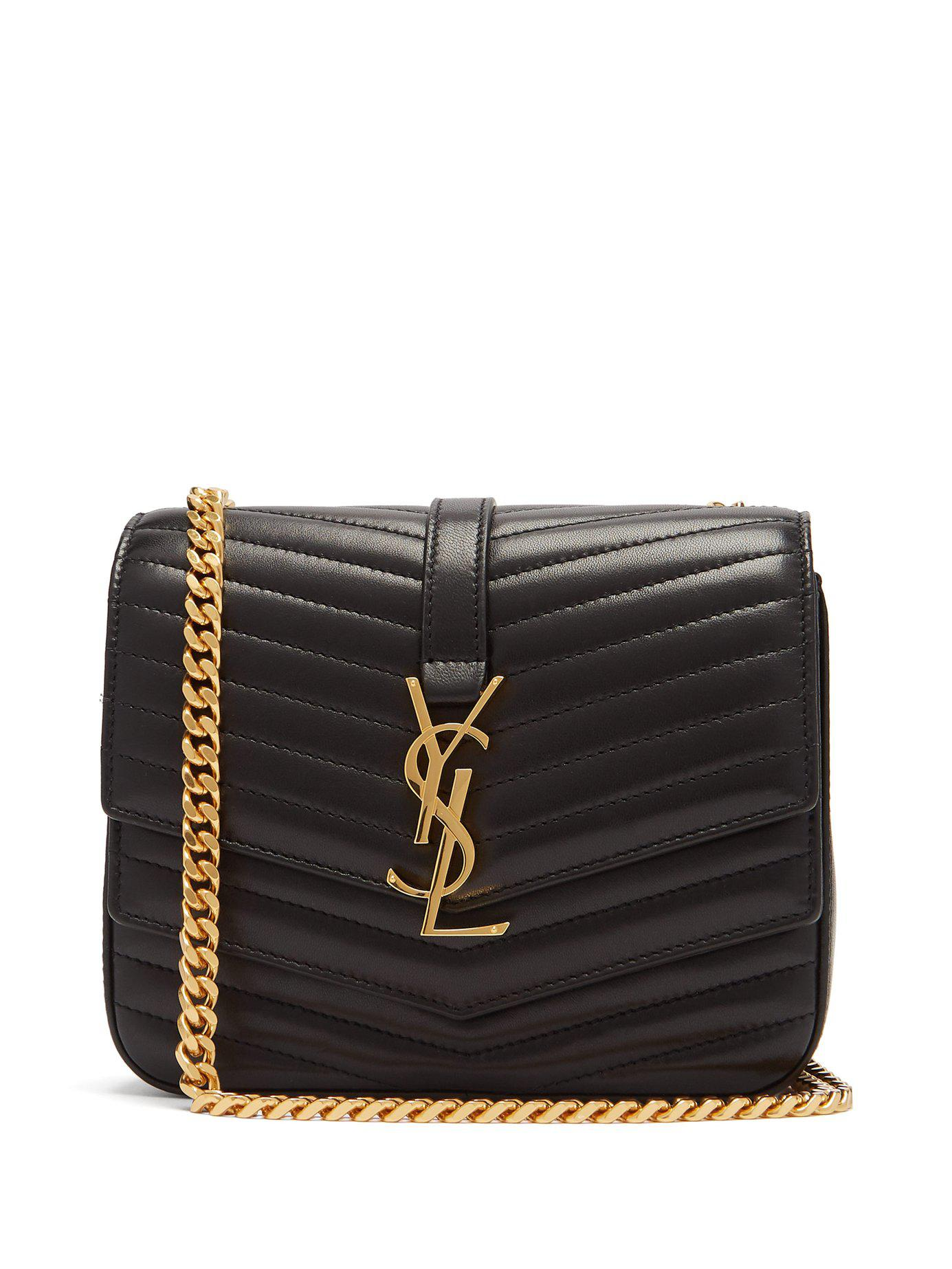 e6347786675a Lyst - Saint Laurent Sulpice Small Leather Bag in Black