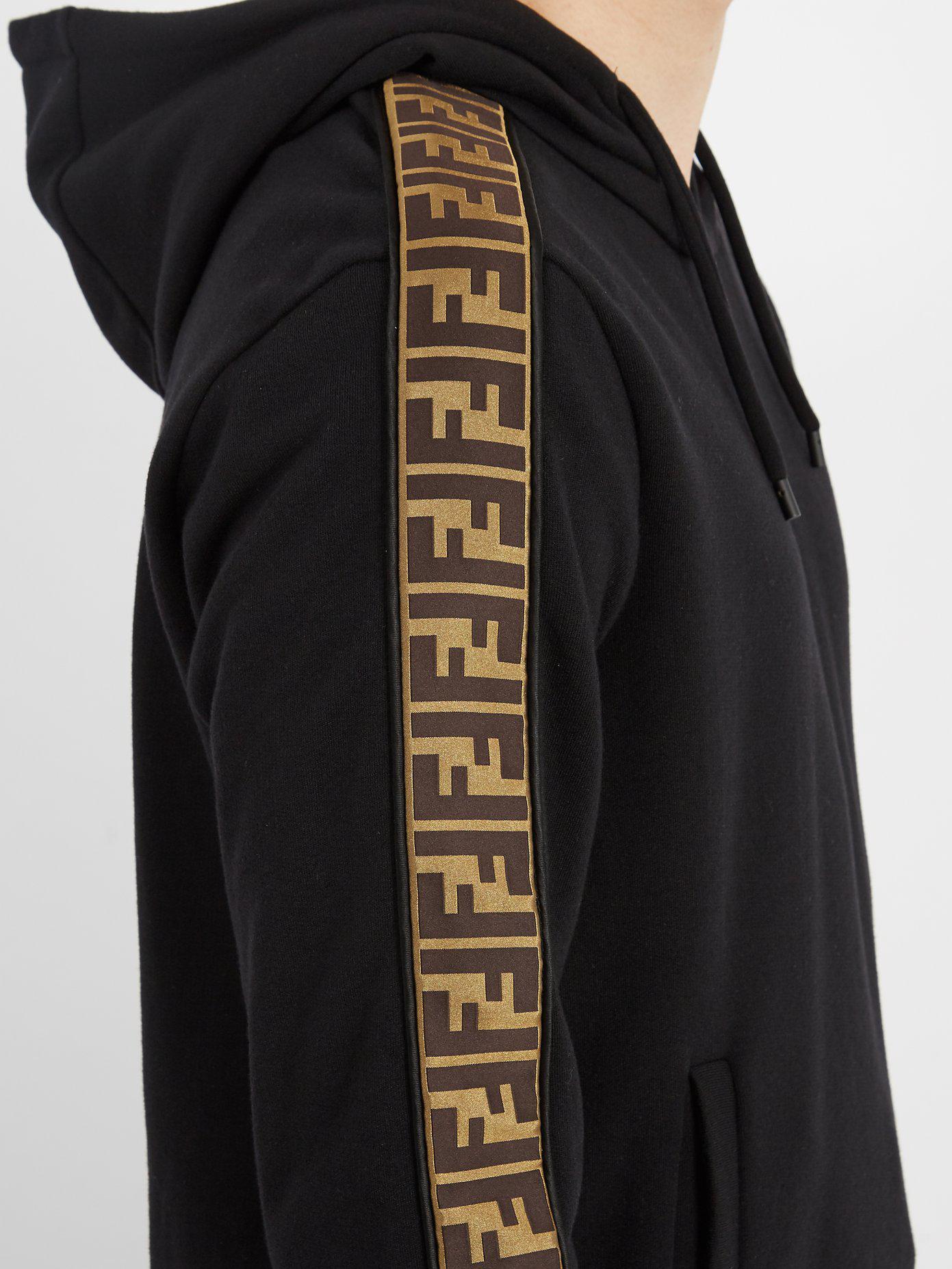 265f77f5b58d Lyst - Fendi Logo-jacquard Tape-trimmed Hooded Sweatshirt in Black ...