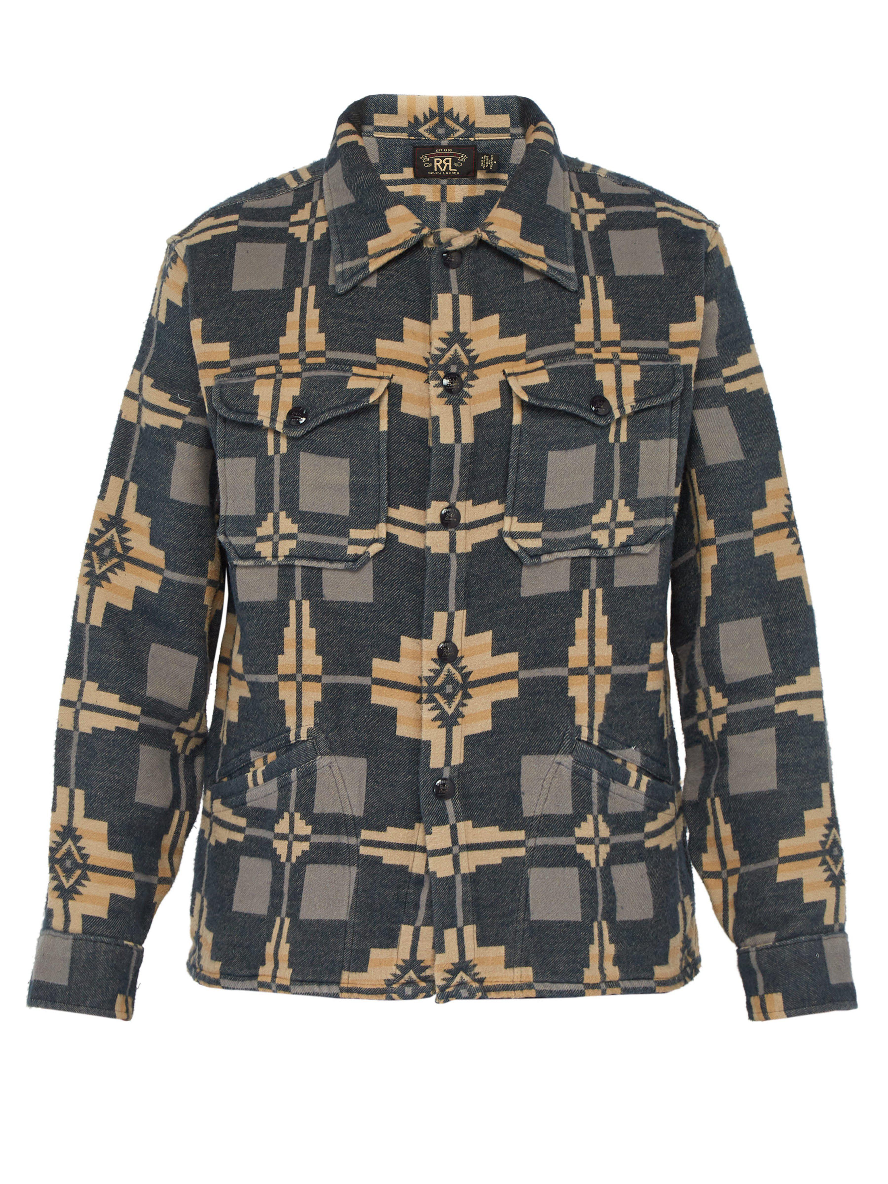 c83242cc RRL Jacquard Cotton Overshirt in Blue for Men - Lyst