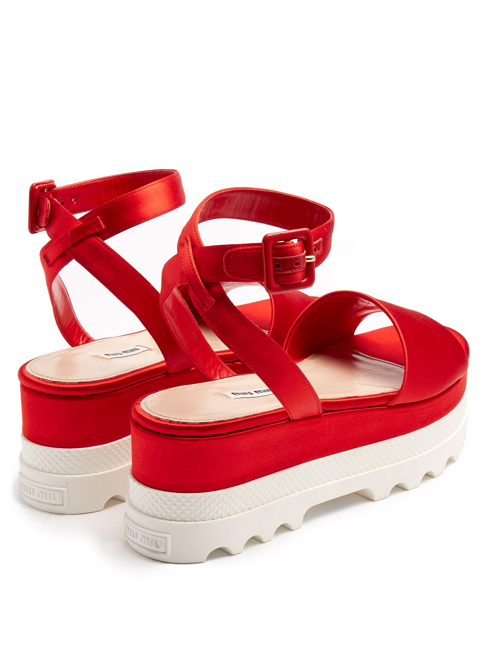 57bc2c74057d Lyst - Miu Miu Bi-colour Satin Flatform Sandal in Red