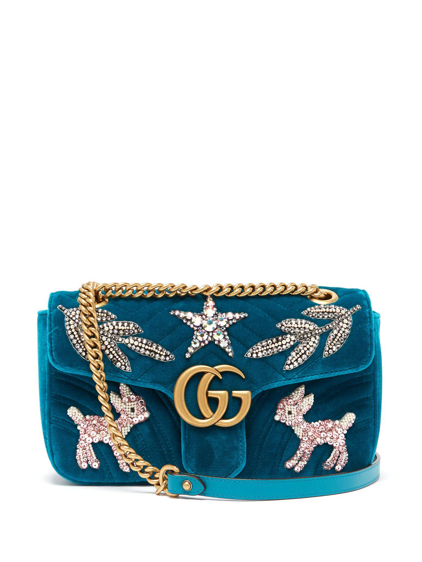 97c220c5dc9f2 Lyst - Gucci Gg Marmont Small Embellished Velvet Cross Body Bag in Blue