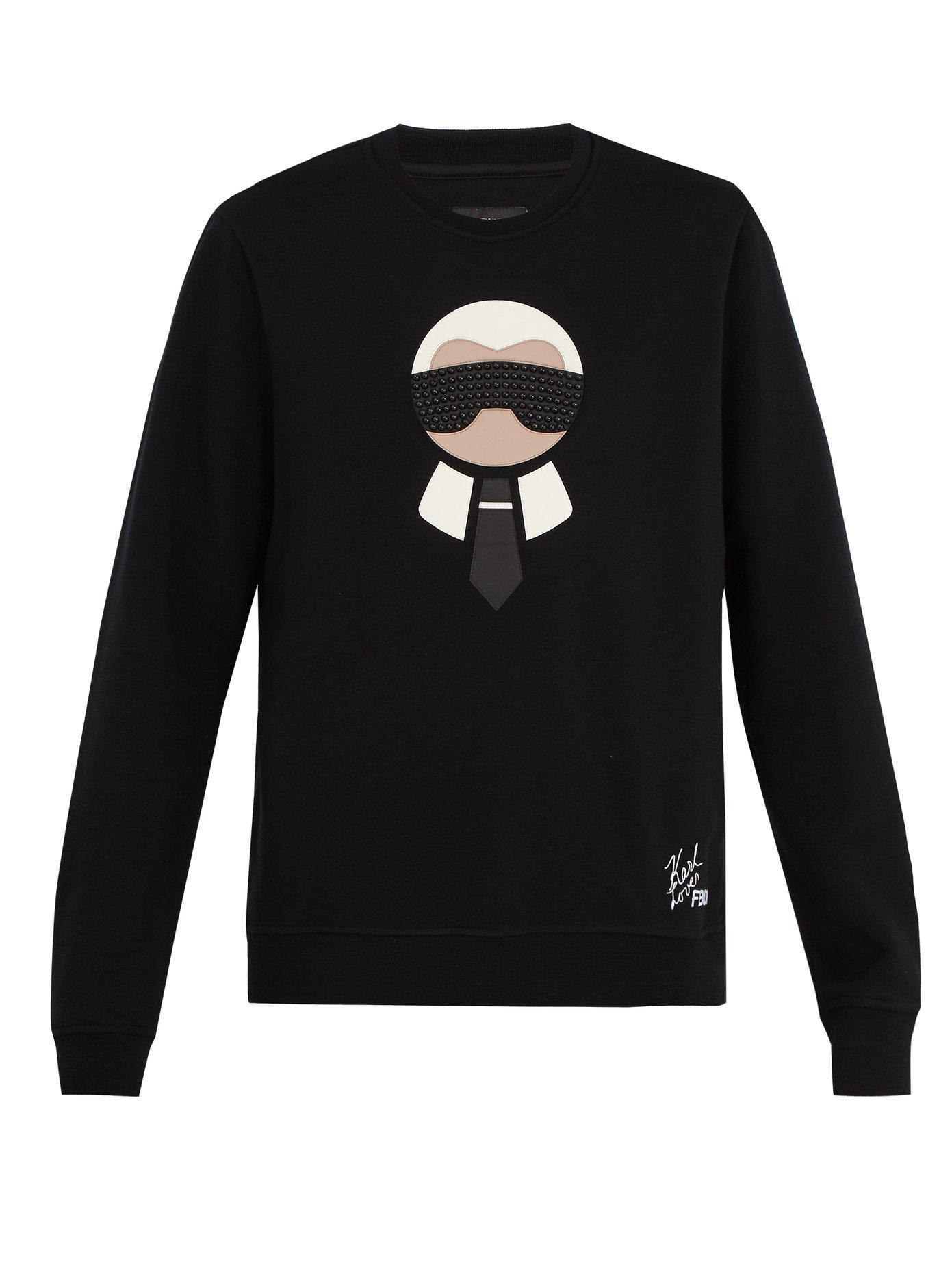 77b4e1ccc68 Lyst - Sweat-shirt laine mélangée à appliqué logo Karlito Fendi pour ...
