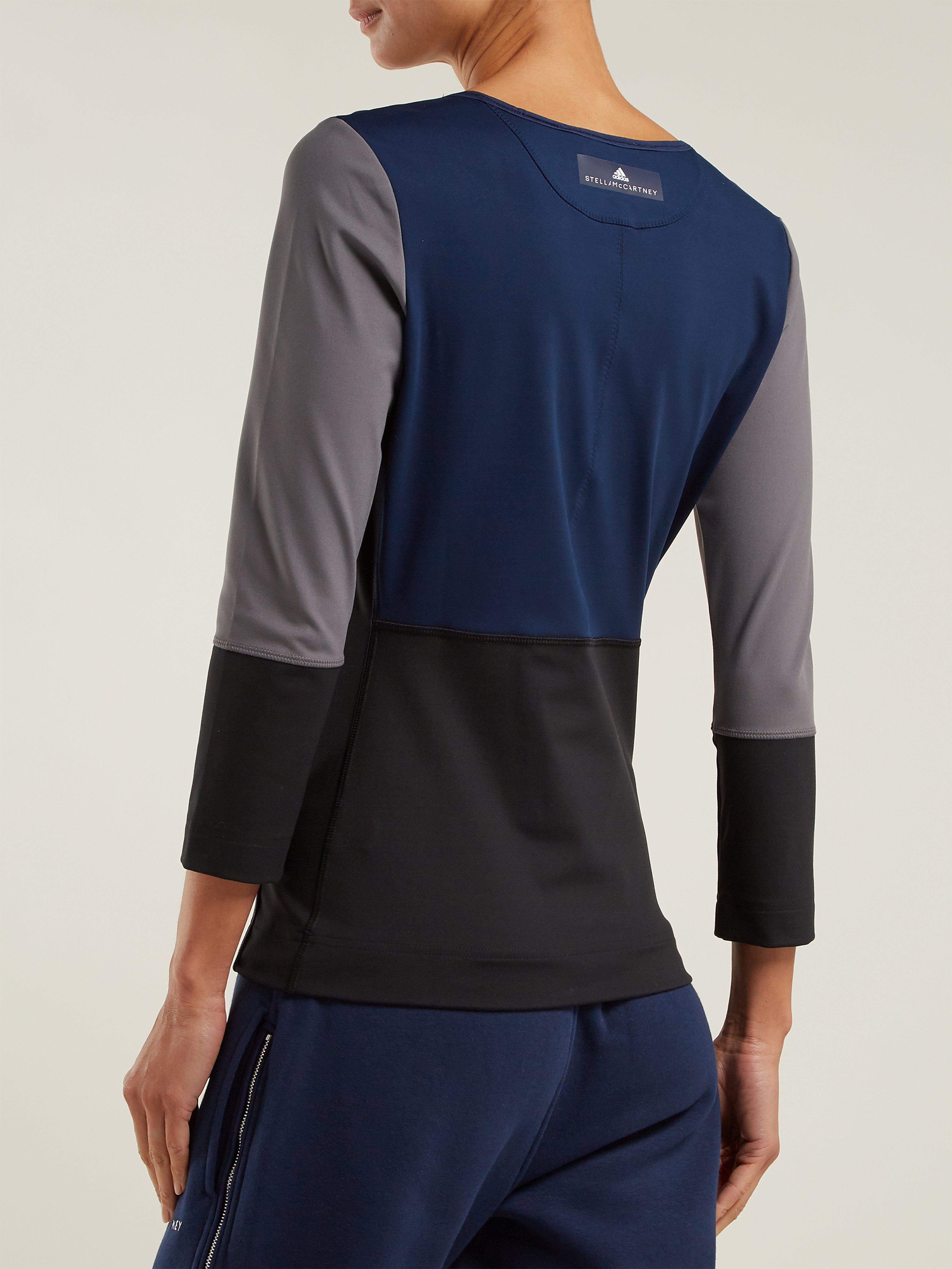 85cf318b9b5aa6 adidas By Stella McCartney Blue, Black And Gray Yoga Comfort Top in ...
